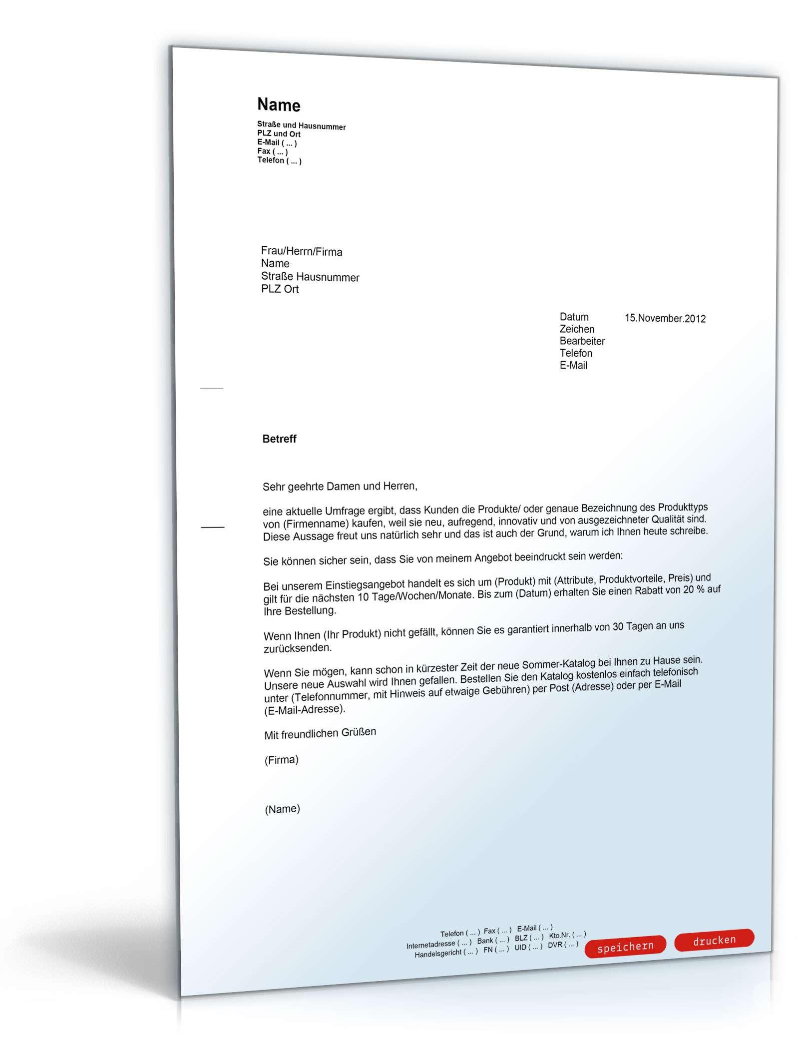 Brief Für Namensänderung : Allgemeiner produktwerbebrief musterbrief zum download