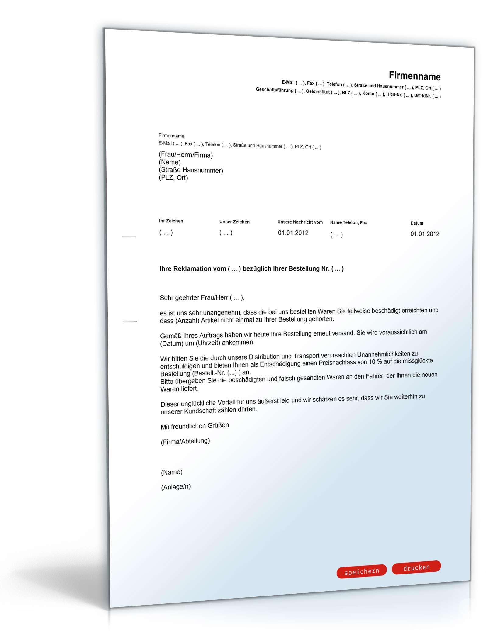 Brief Schreiben Für Reklamation Reklamation Niedlich Beschwerde