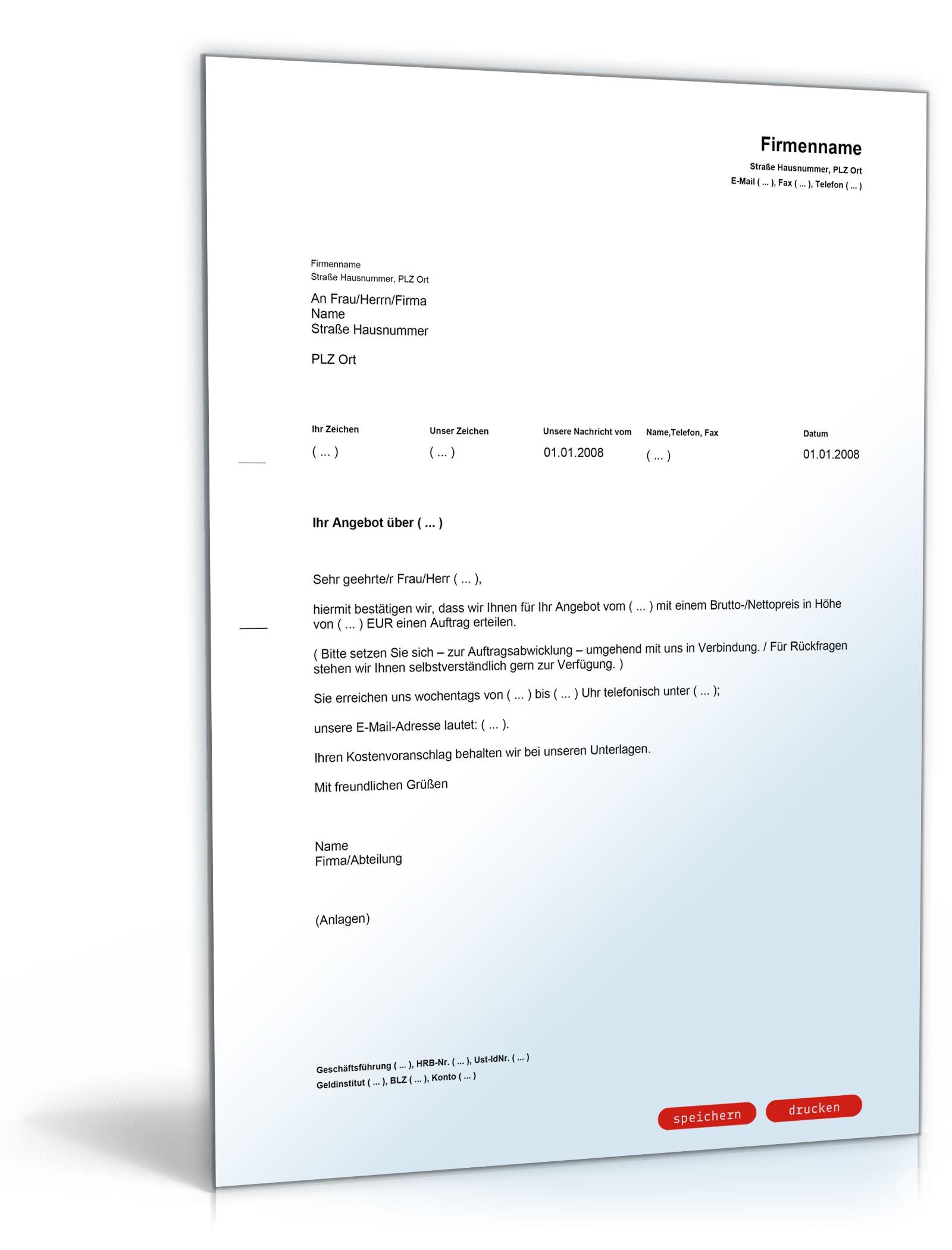 Musterbriefe Zusammenarbeit : Auftragserteilung muster vorlage zum download