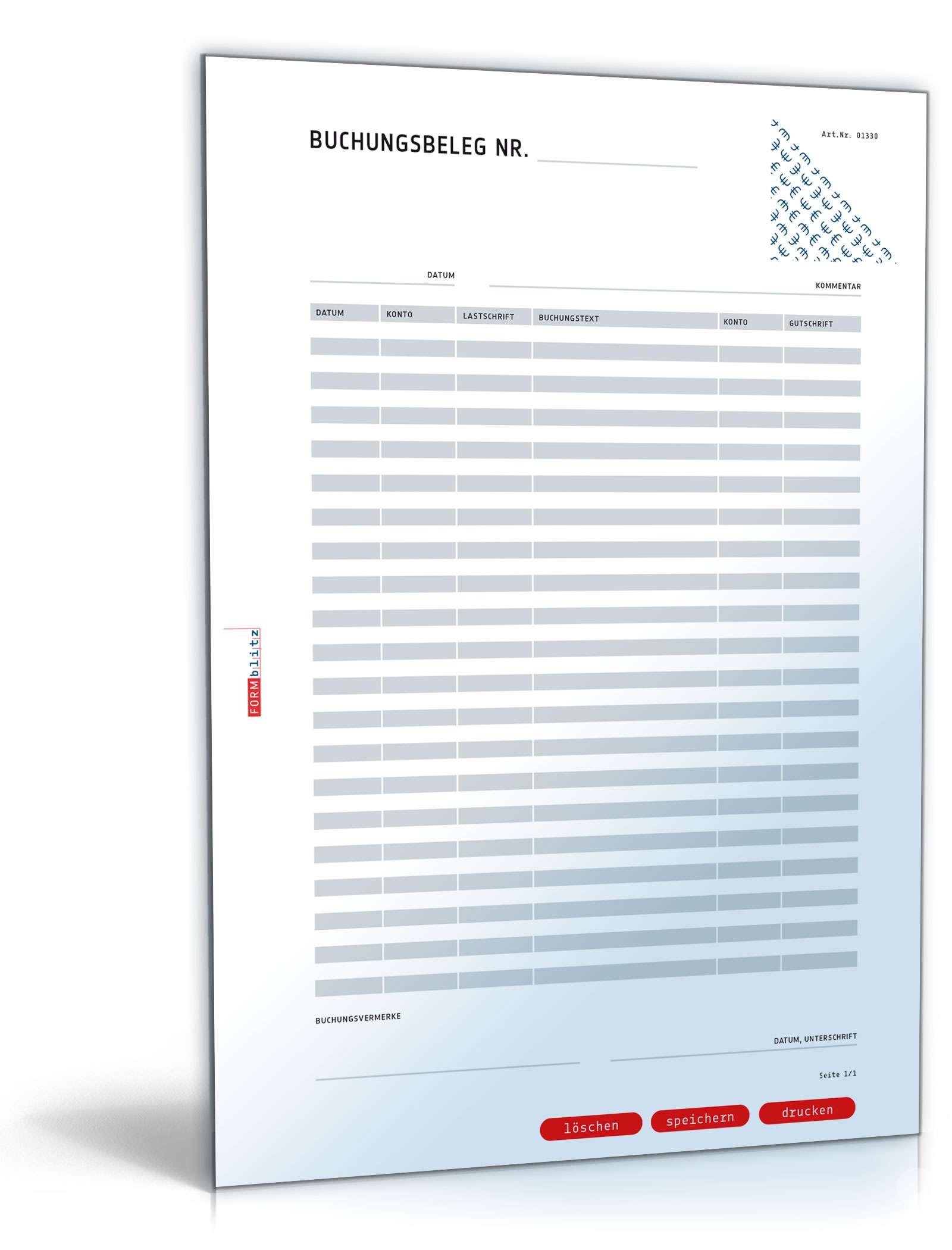 Musterbriefe Lärmbelästigung : Buchungsbeleg muster vorlage zum download