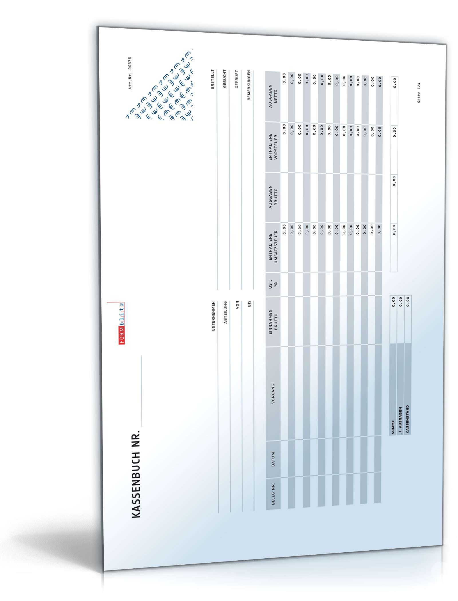 kassenbuch formular zum download. Black Bedroom Furniture Sets. Home Design Ideas