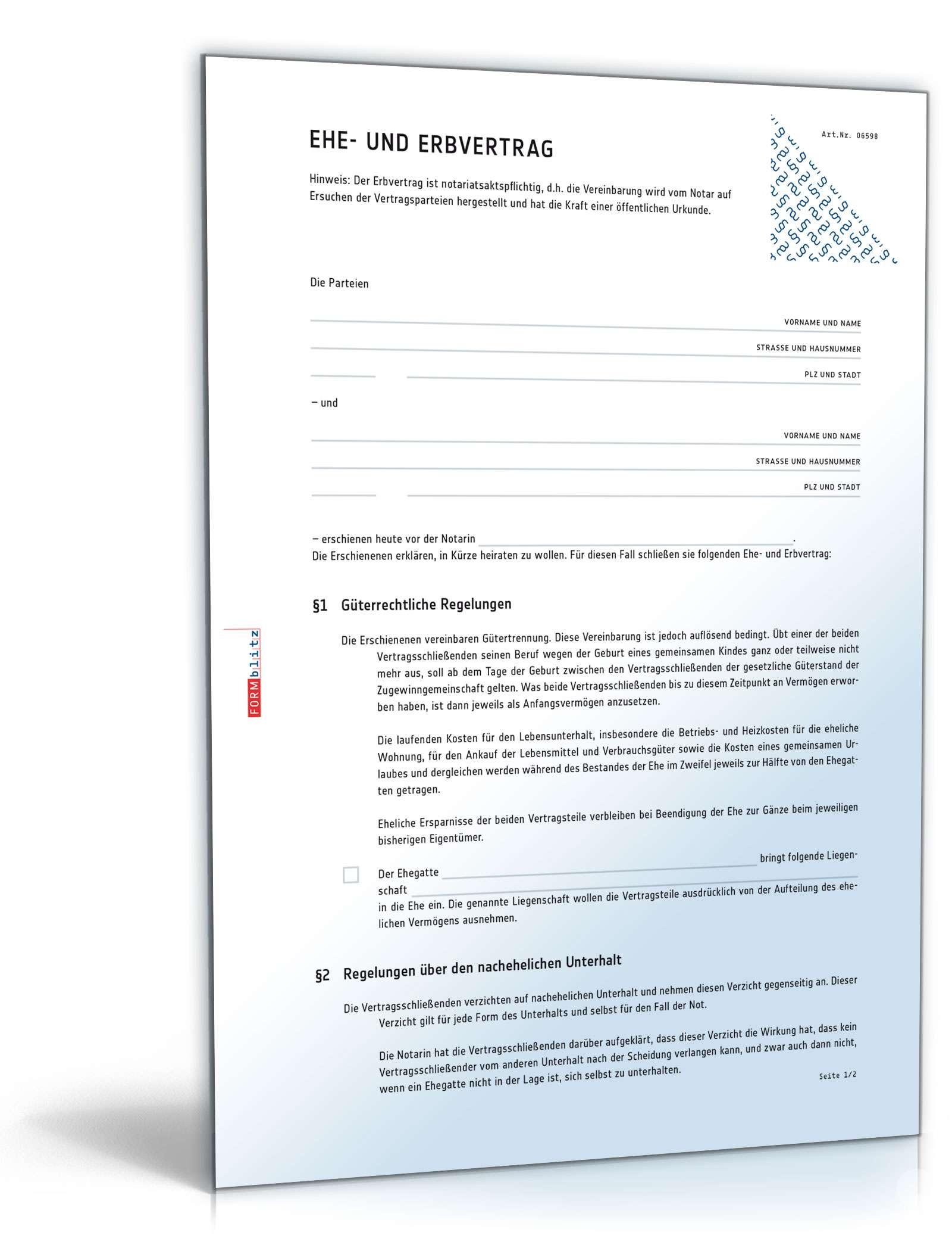 Musterbriefe Notar : Ehe und erbvertrag mit gütertrennung muster vorlage zum
