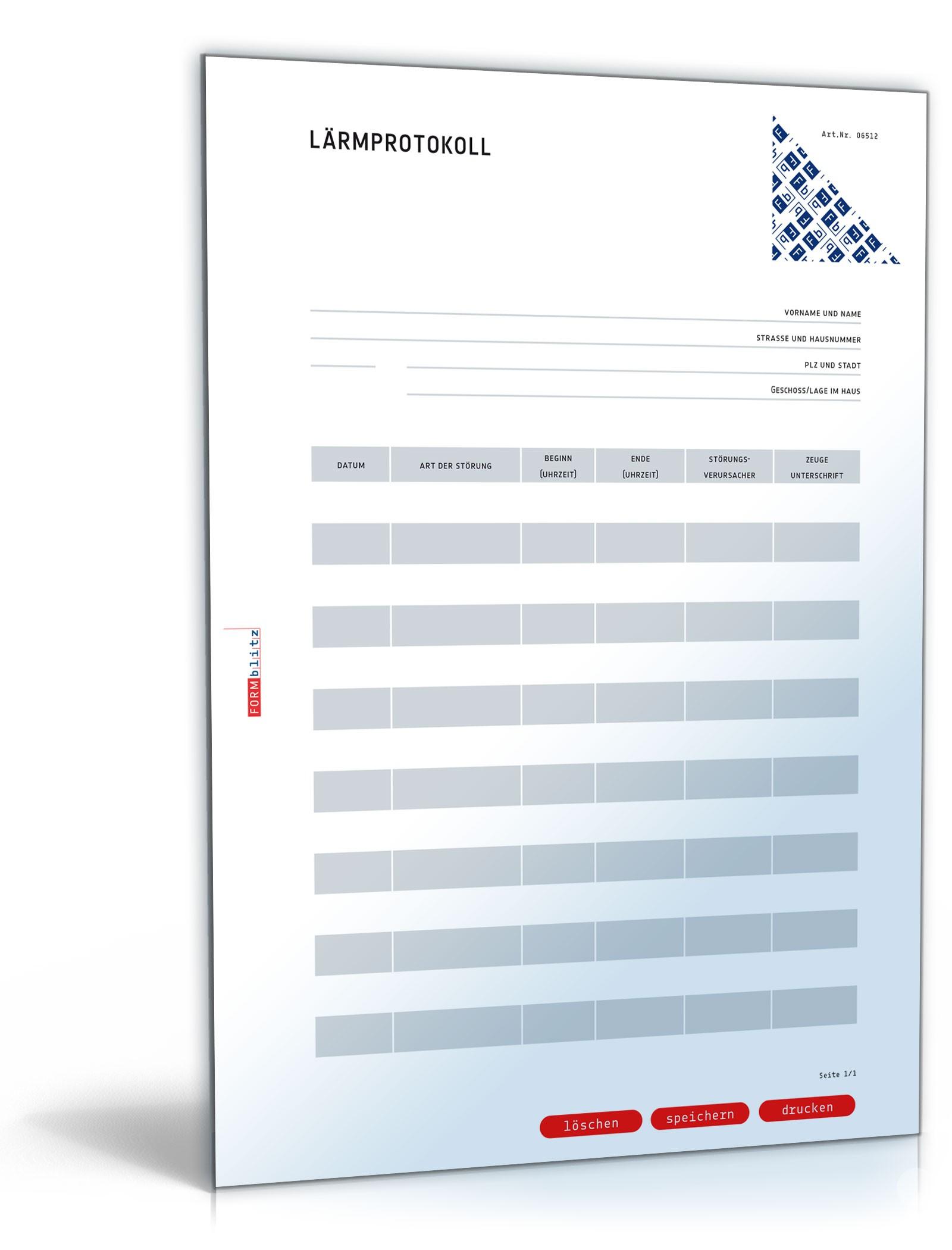 Musterbriefe Lärmbelästigung : Lärmprotokoll muster vorlage zum download