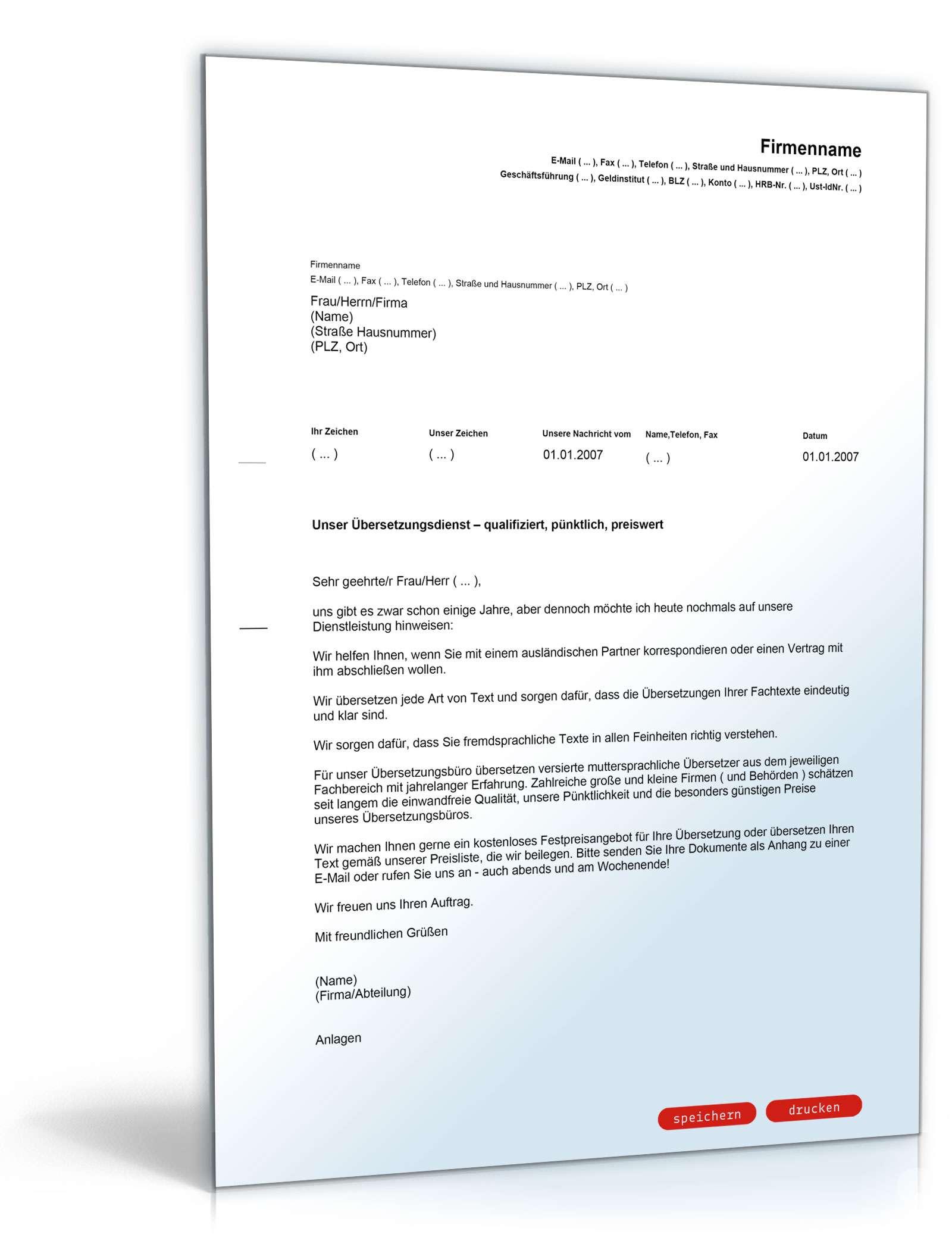 Brief Für Zahlungsaufschub : Werbebrief für ein Übersetzungsbüro muster vorlage zum