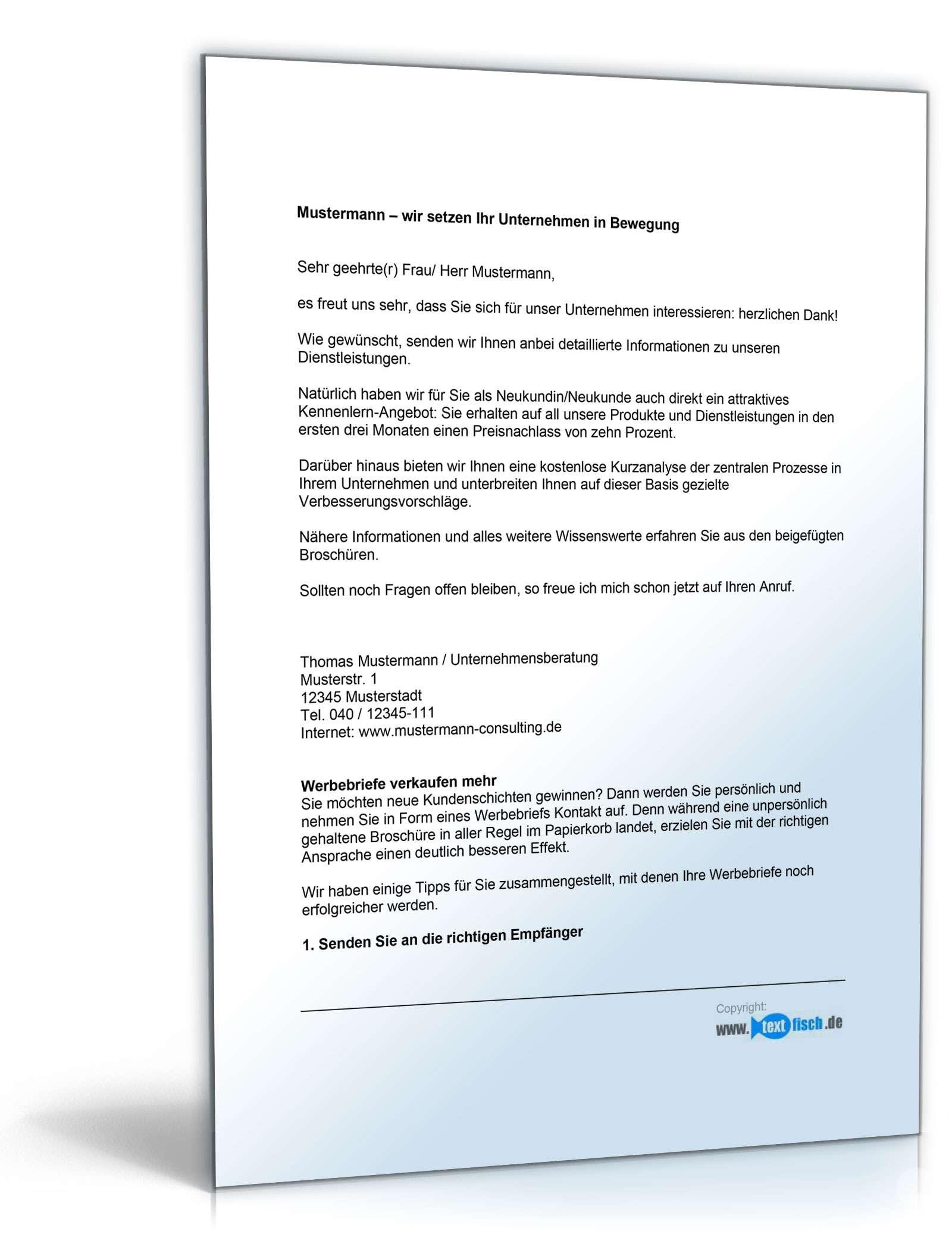 Brief Für Zipfelwitz : Werbebrief für eine unternehmensberatung mit infomaterial