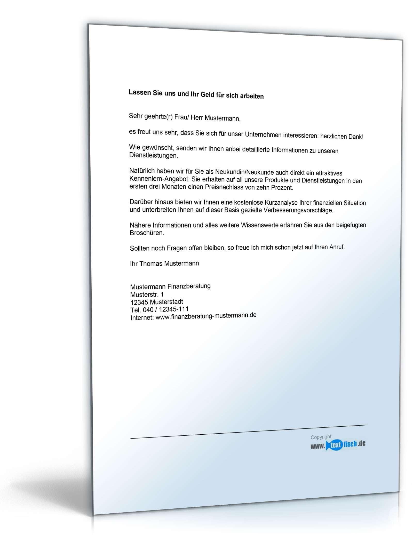 Brief Für Zahlungsaufschub : Werbebrief für einen finanzberater mit infomaterial
