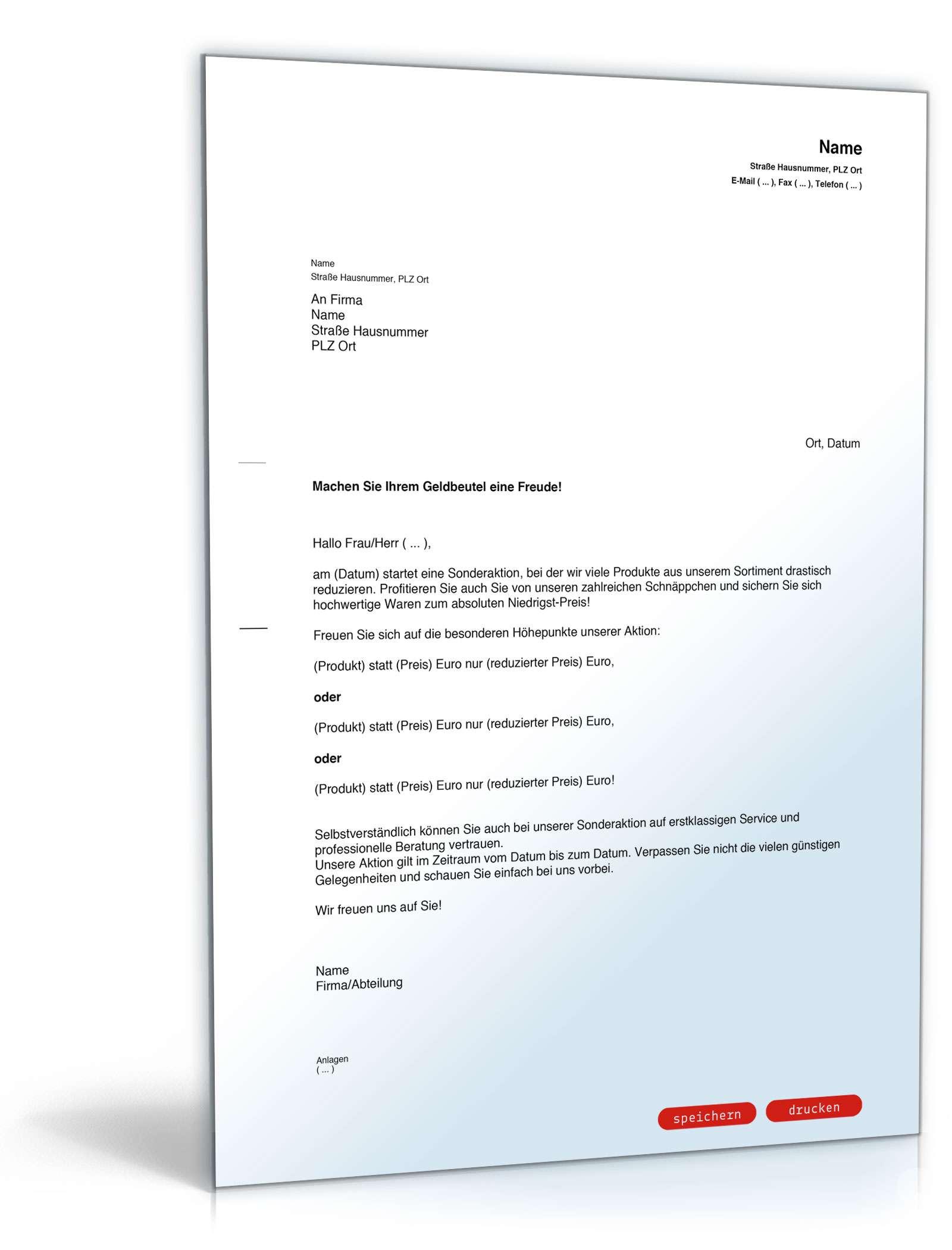 Brief Für Zahlungsaufschub : Werbebrief für sonderangebote muster vorlage zum download