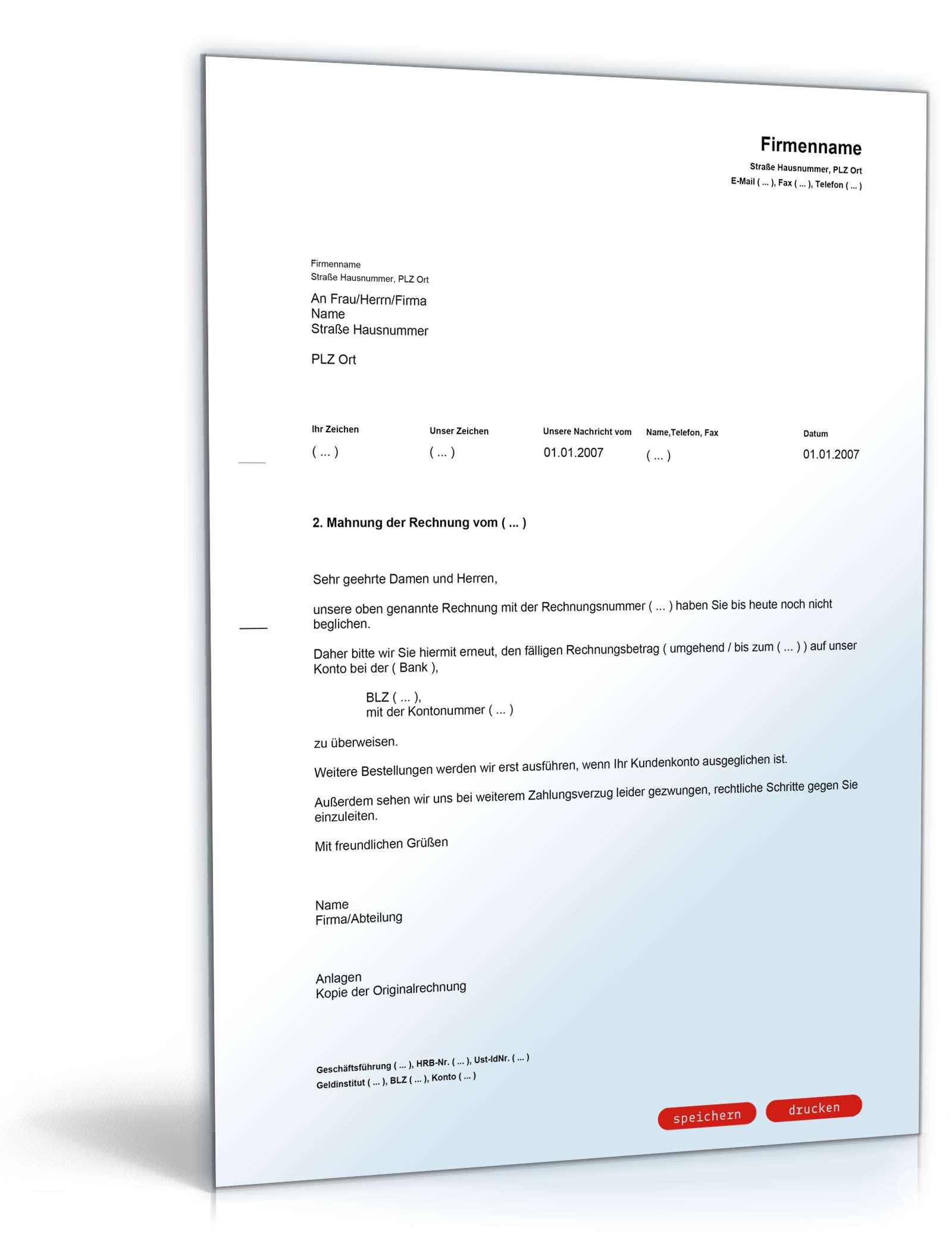 2 Mahnung Mit Androhung Lieferstopp Muster Vorlage Zum Download