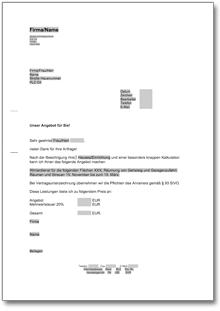 Angebot Dienstleistung Muster Vorlage Zum Download