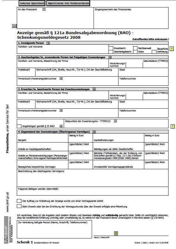 Anzeige gemäss §121a BAO Dokument zum Download
