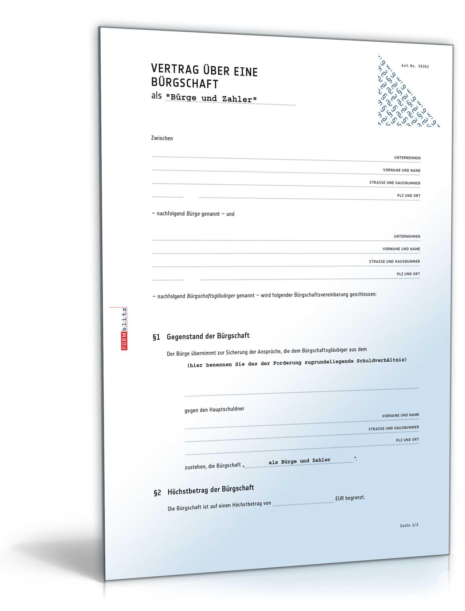 brgschaftsvertrag als brge zahler muster zum download - Burgschaft Muster