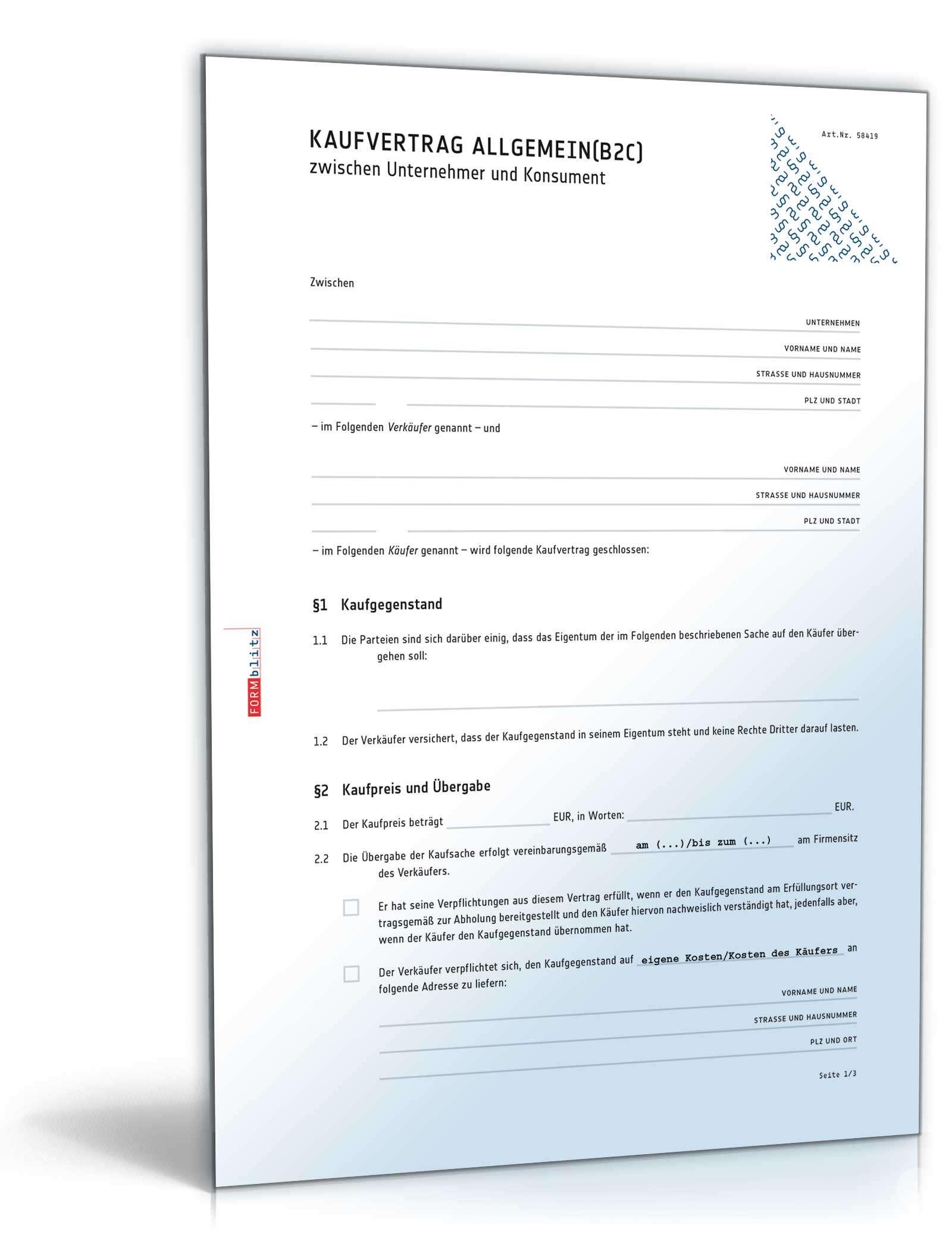 Kaufvertrag zwischen Unternehmer & Konsument | Muster zum Download