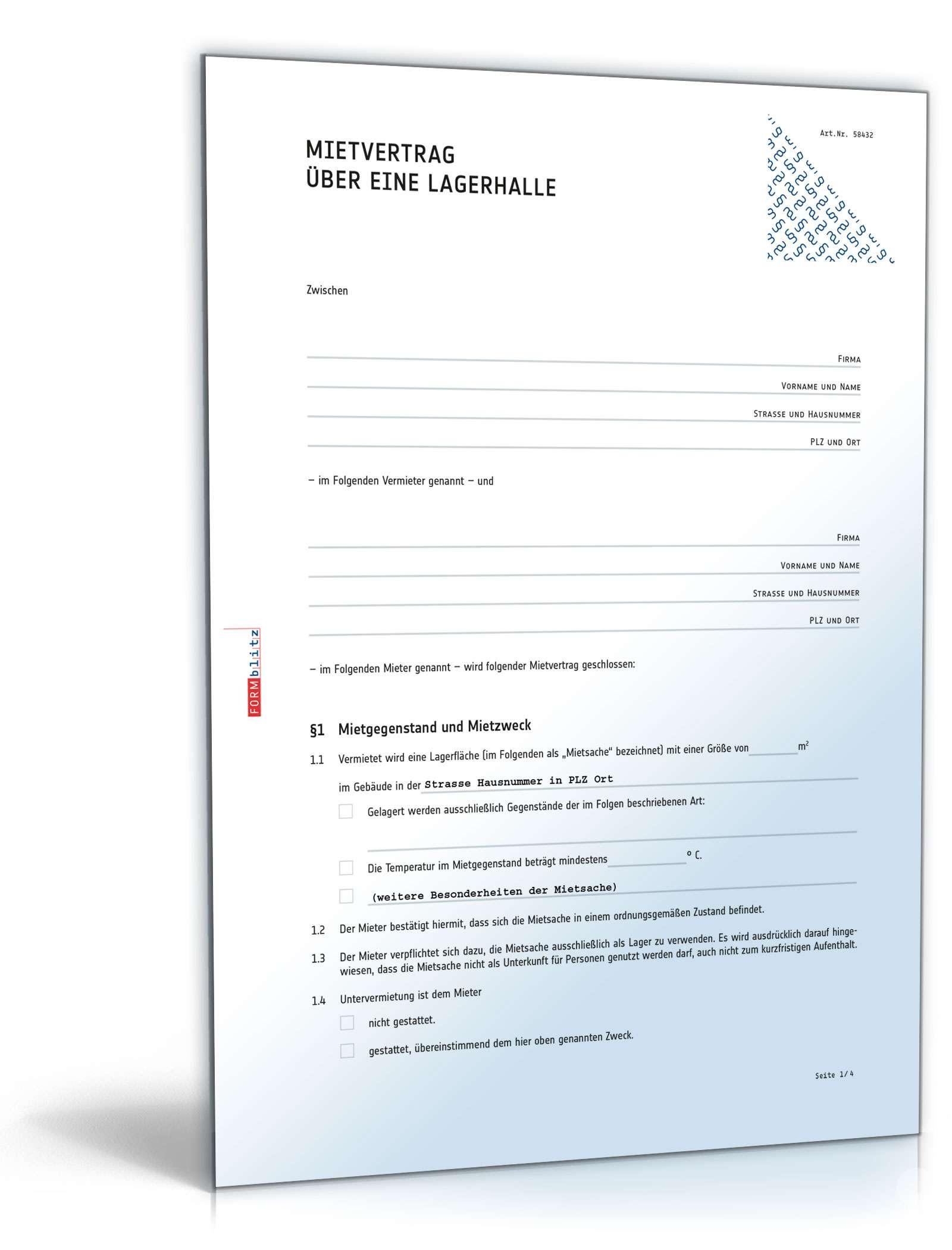 Mietvertrag über eine Lagerhalle Dokument zum Download
