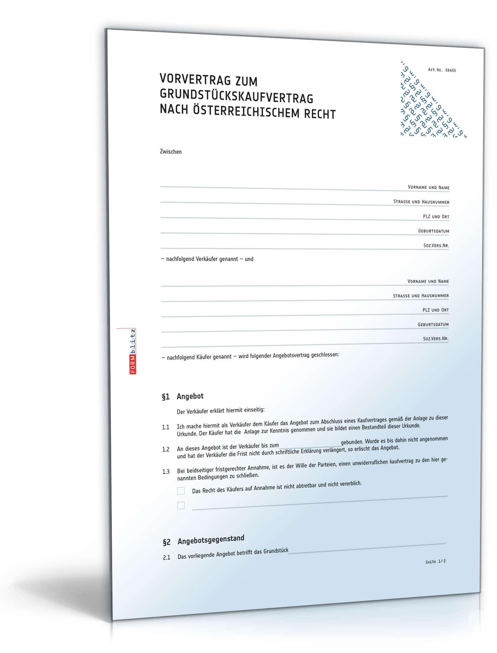 Vorvertrag zum Grundstückskaufvertrag Dokument zum Download