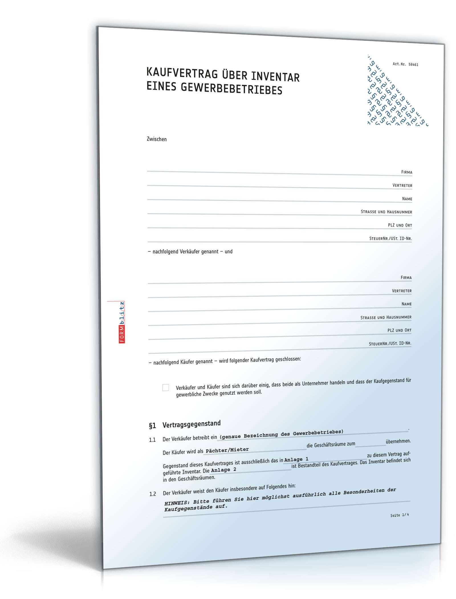 Kaufvertrag über Inventar eines Gewerbebetriebes Dokument zum Download