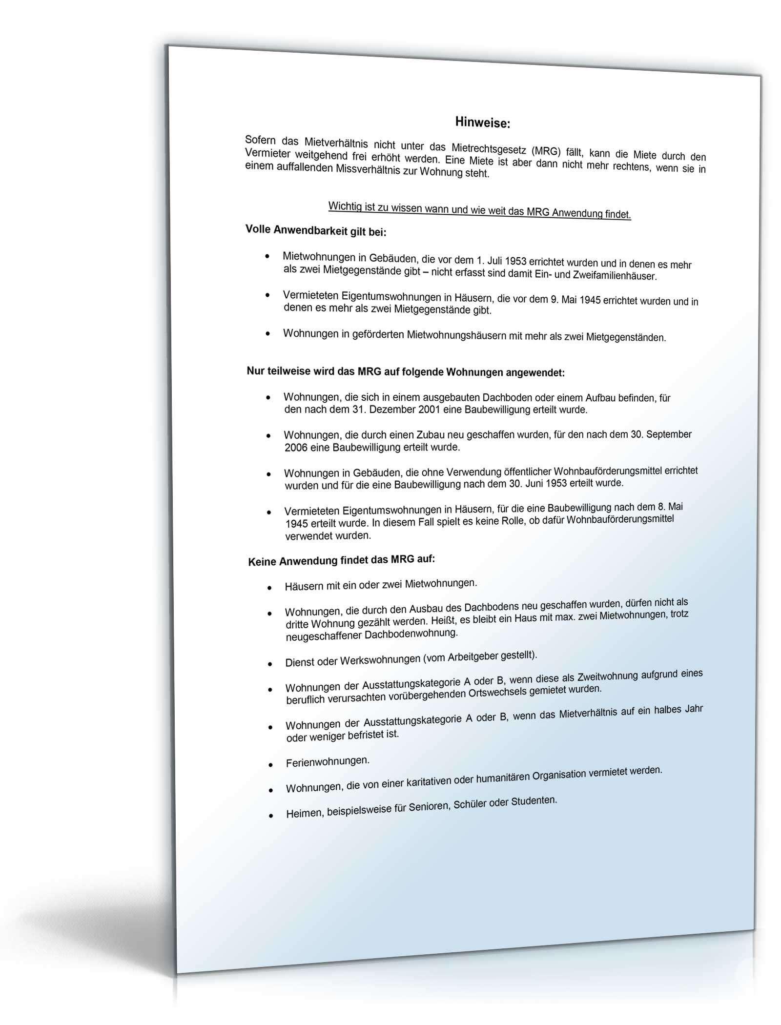 Ankündigung Mieterhöhung | Muster zum Download