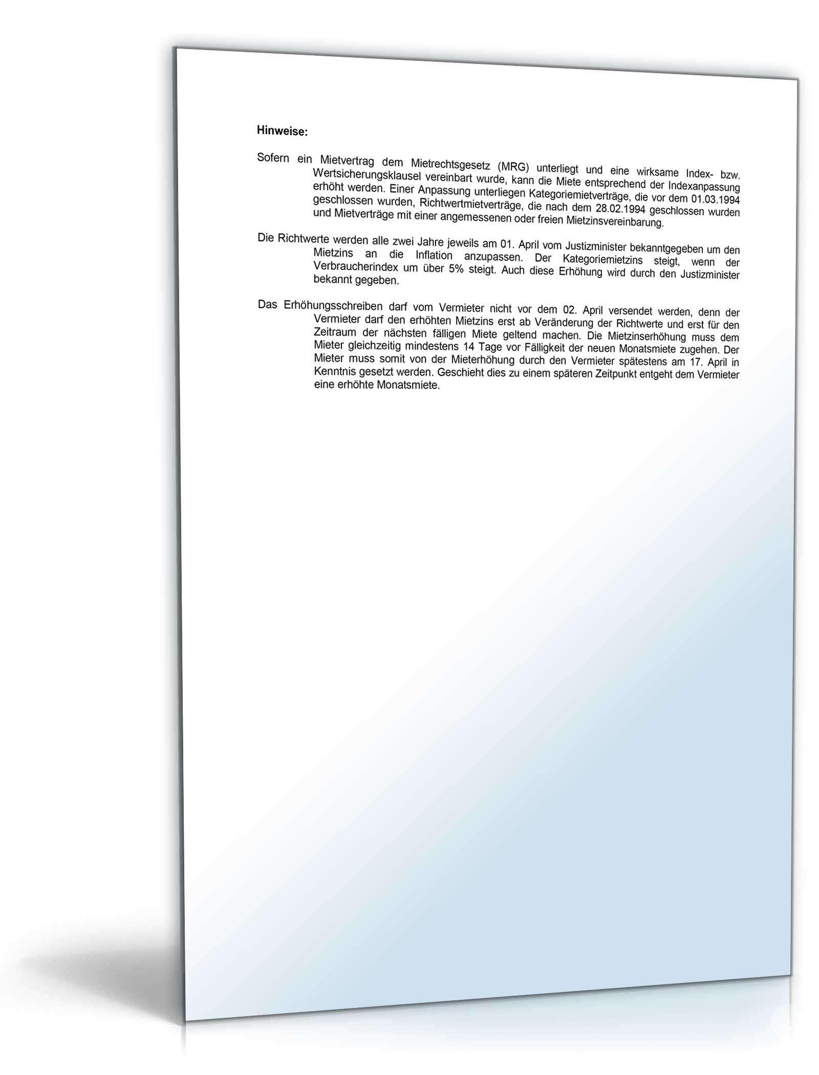 muster brief ankndigung mieterhhung ouml - Mieterhhungsverlangen Muster