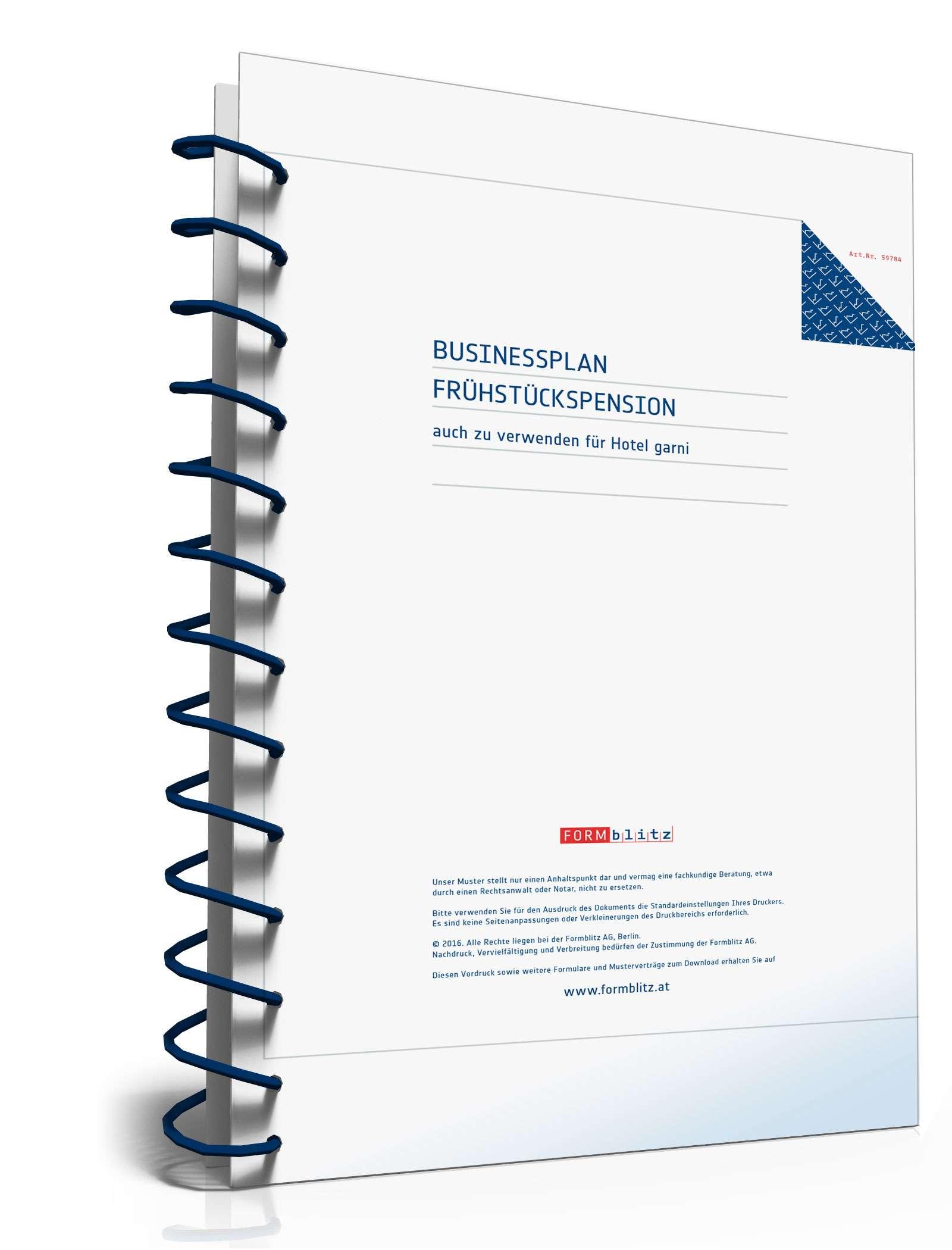 Businessplan für eine Frühstückspension Dokument zum Download