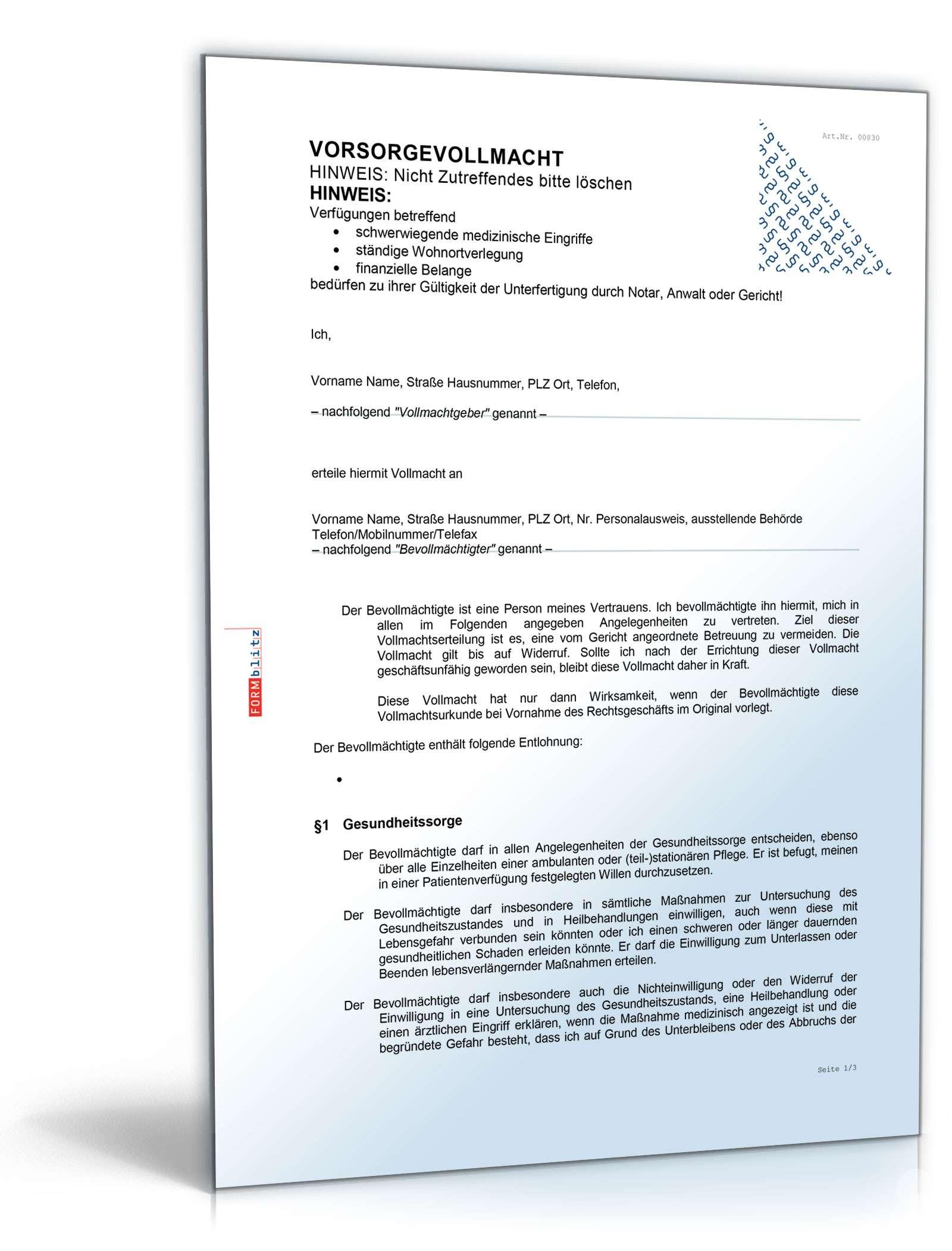 Vorsorgevollmacht Dokument zum Download