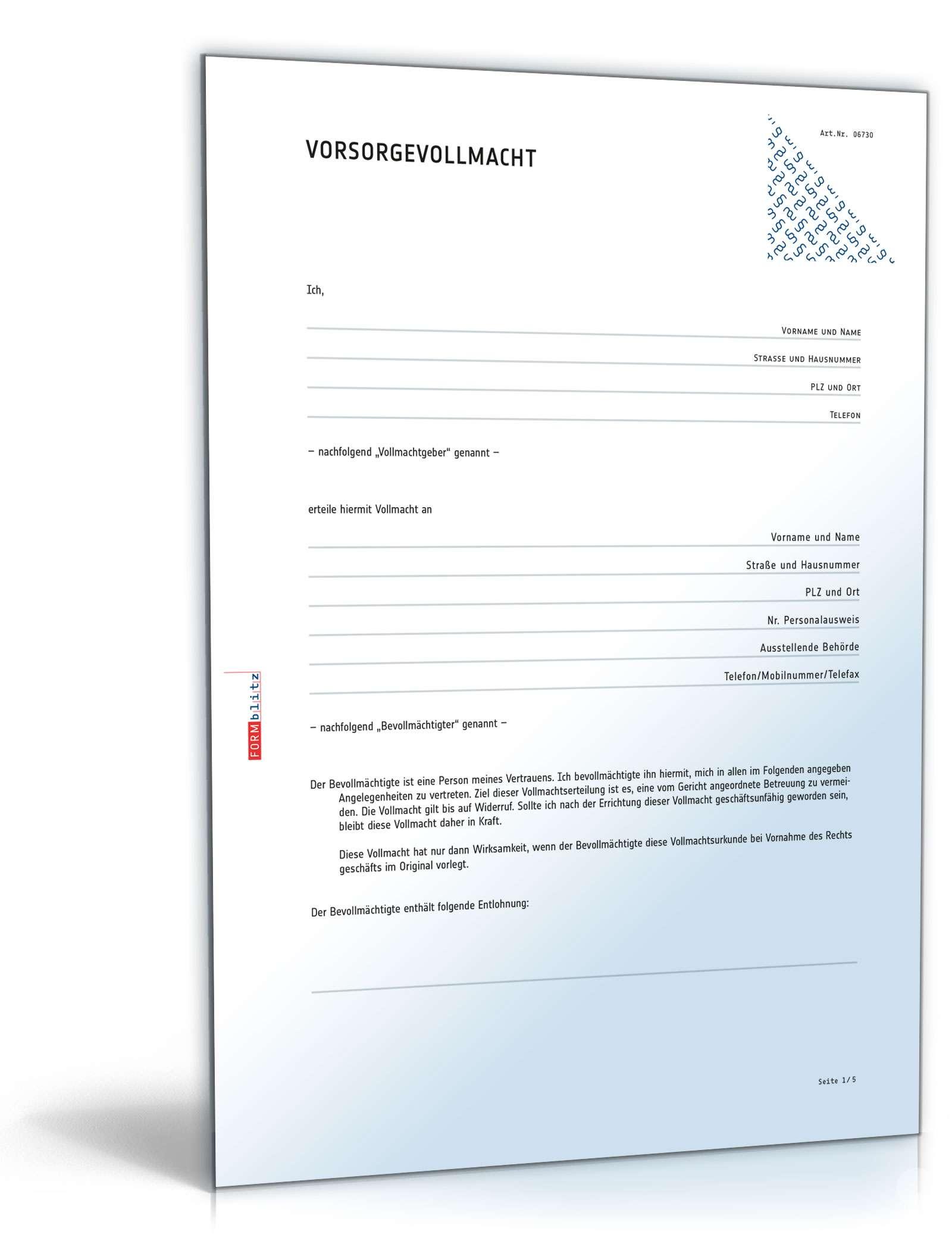 Vorsorgevollmacht Vorlage Formular Vordruck Muster