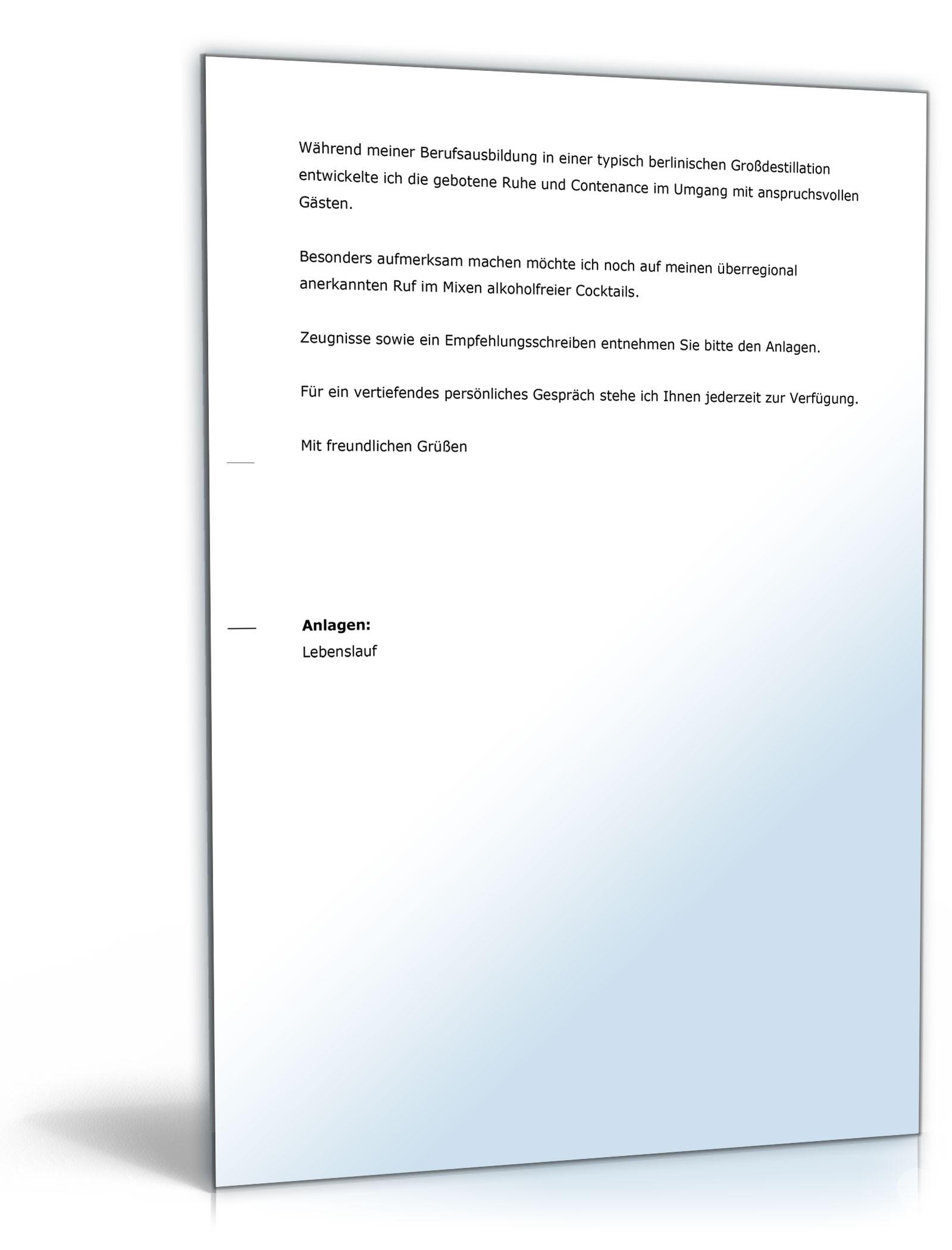 Bewerbung (Fachkraft im Gastgewerbe) - Muster-Vorlage zum Download