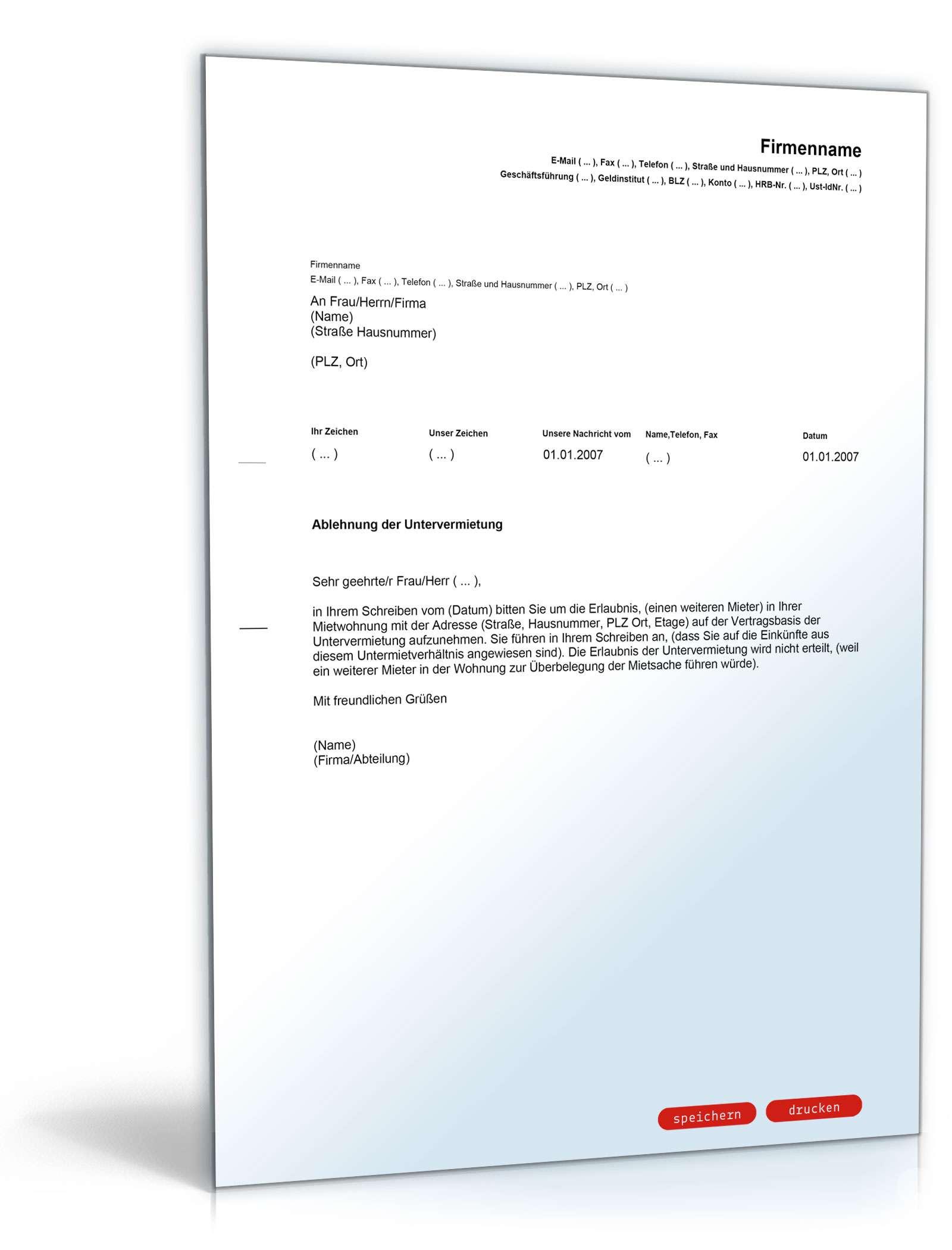 ablehnung untervermietung muster vorlage zum download. Black Bedroom Furniture Sets. Home Design Ideas