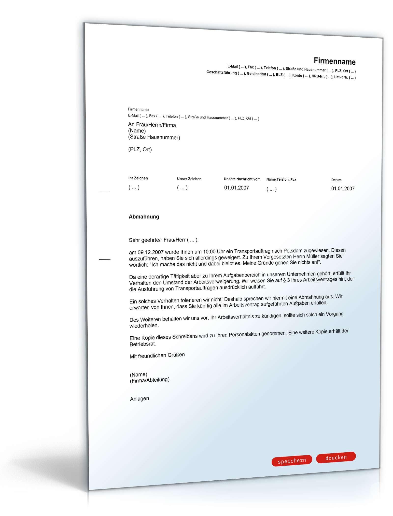 Abmahnung Arbeitsverweigerung Muster Vorlage Zum Download