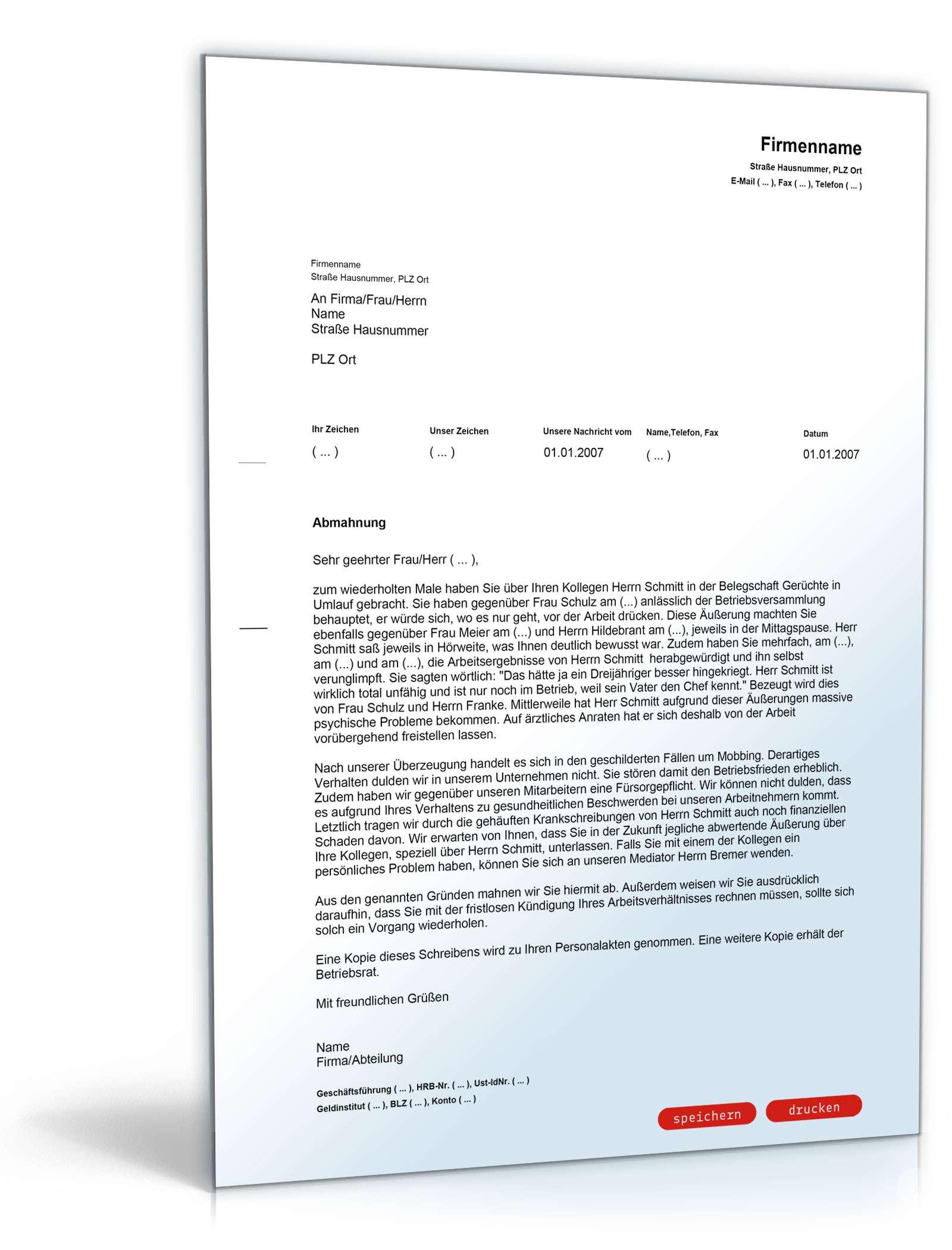 Abmahnung Mobbing Muster Vorlage Zum Download