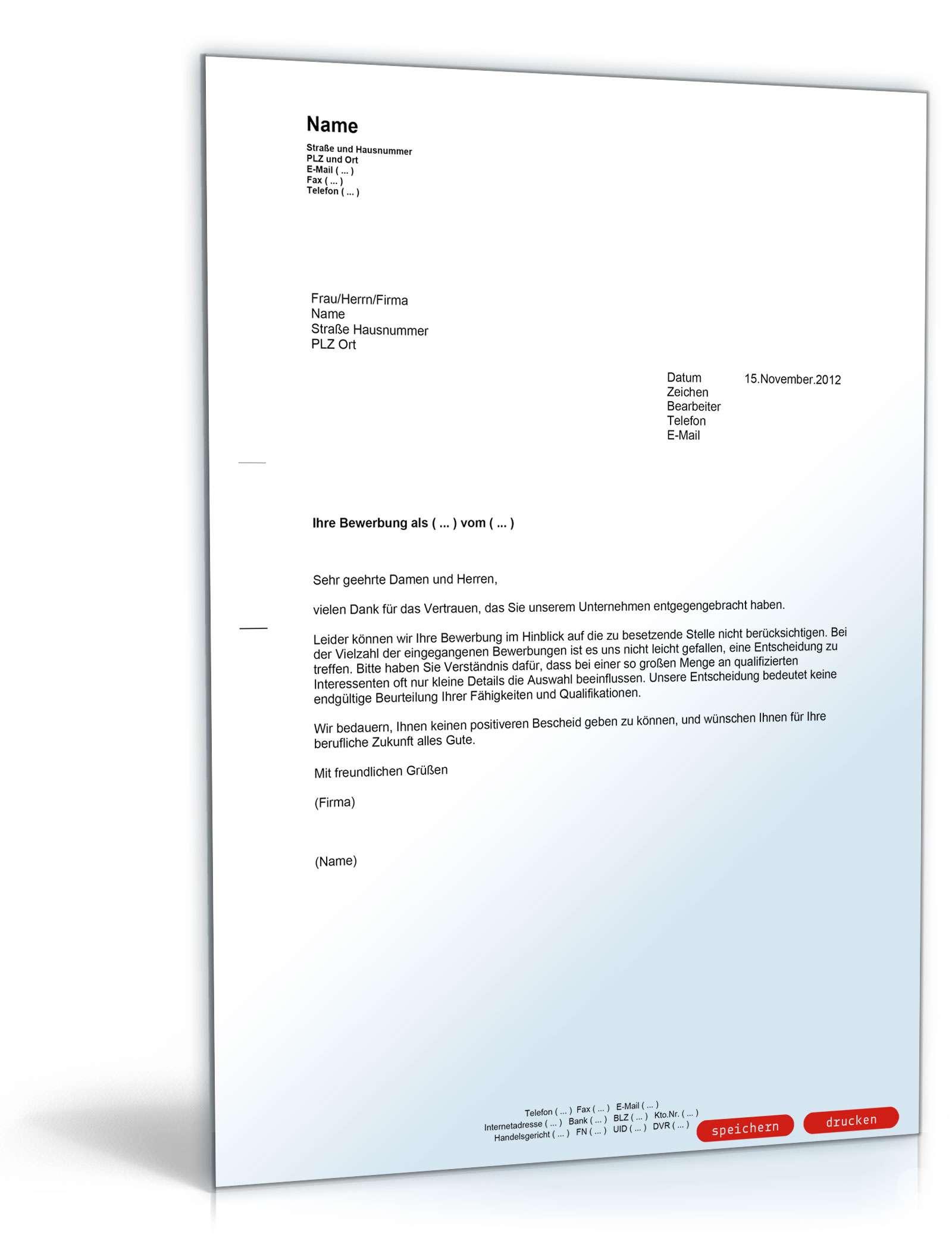 Vorlage Absage Bewerbung 14 Bewundernswert