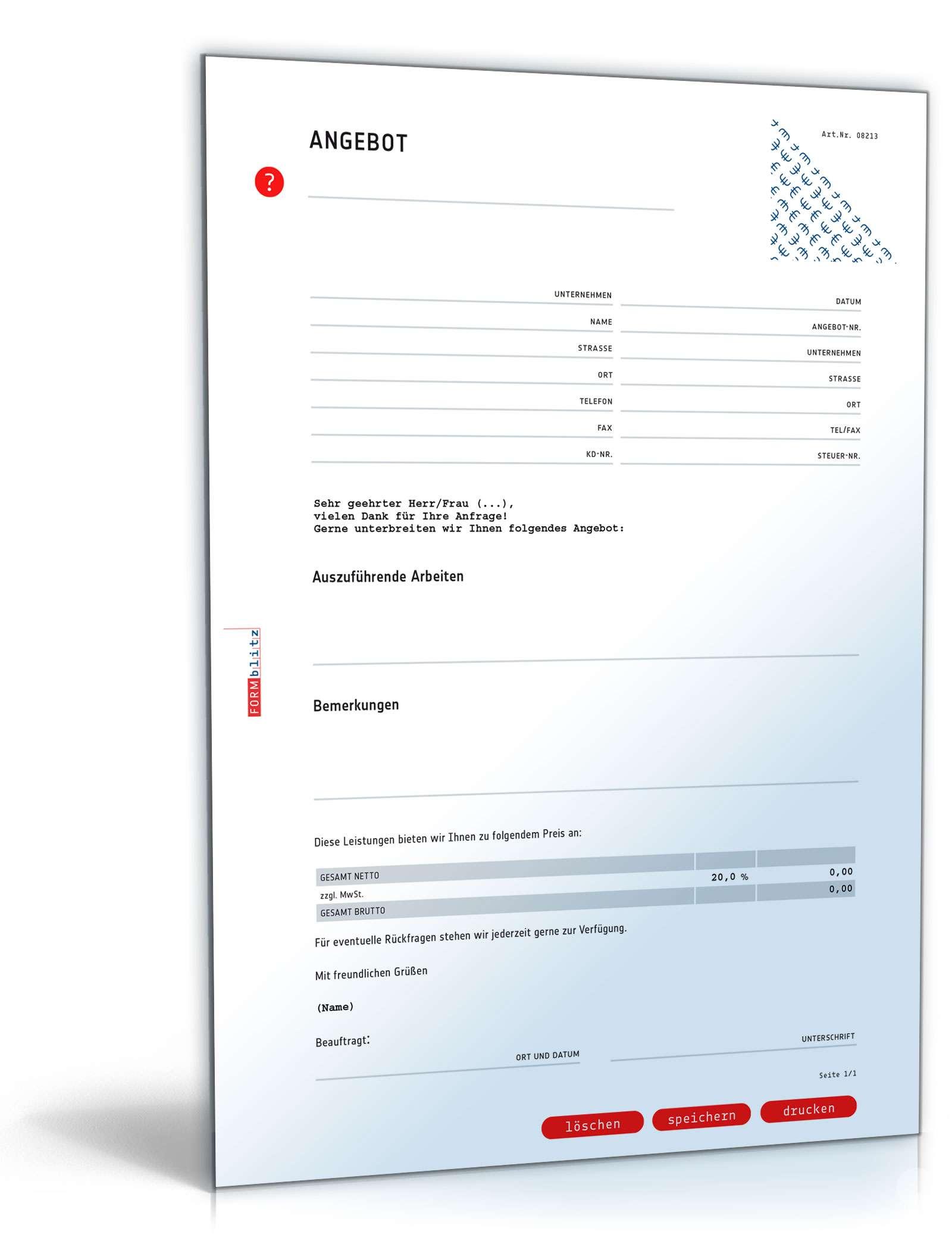 Musterbriefe Rechnungen : Angebot pauschal vorlage zum download