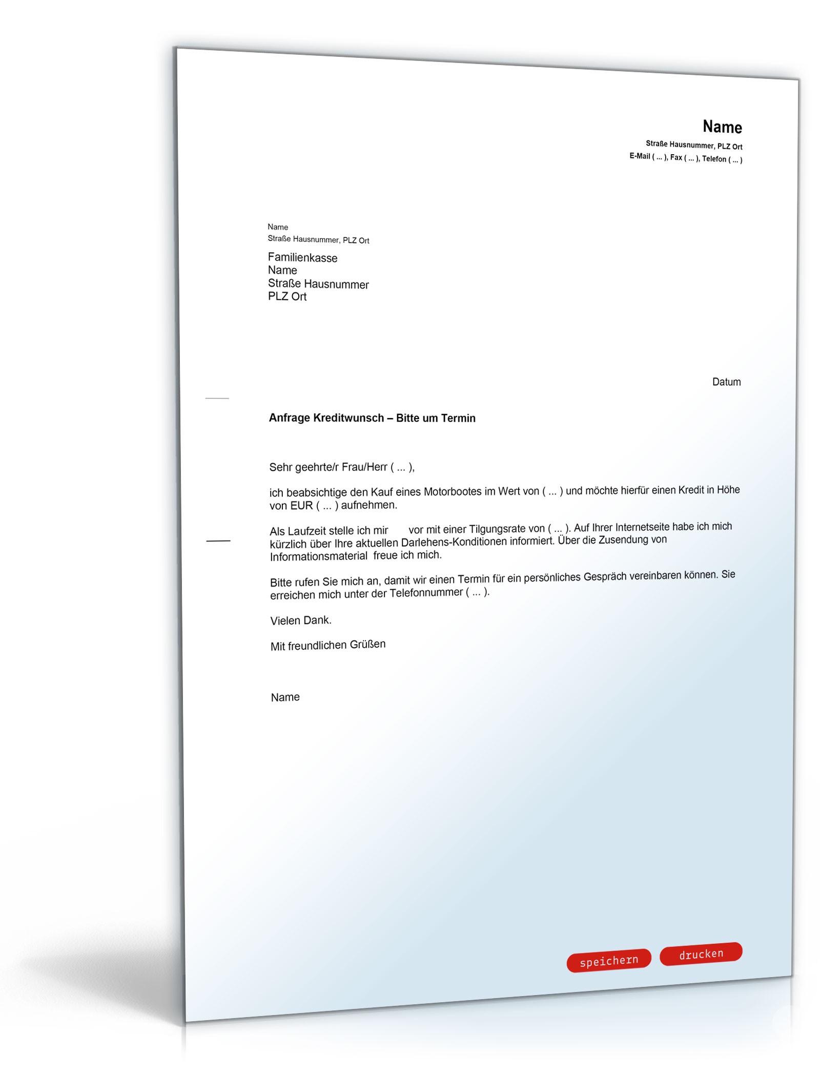 Brief an Bank (Kreditwunsch und Terminvereinbarung) - Muster-Vorlage ...