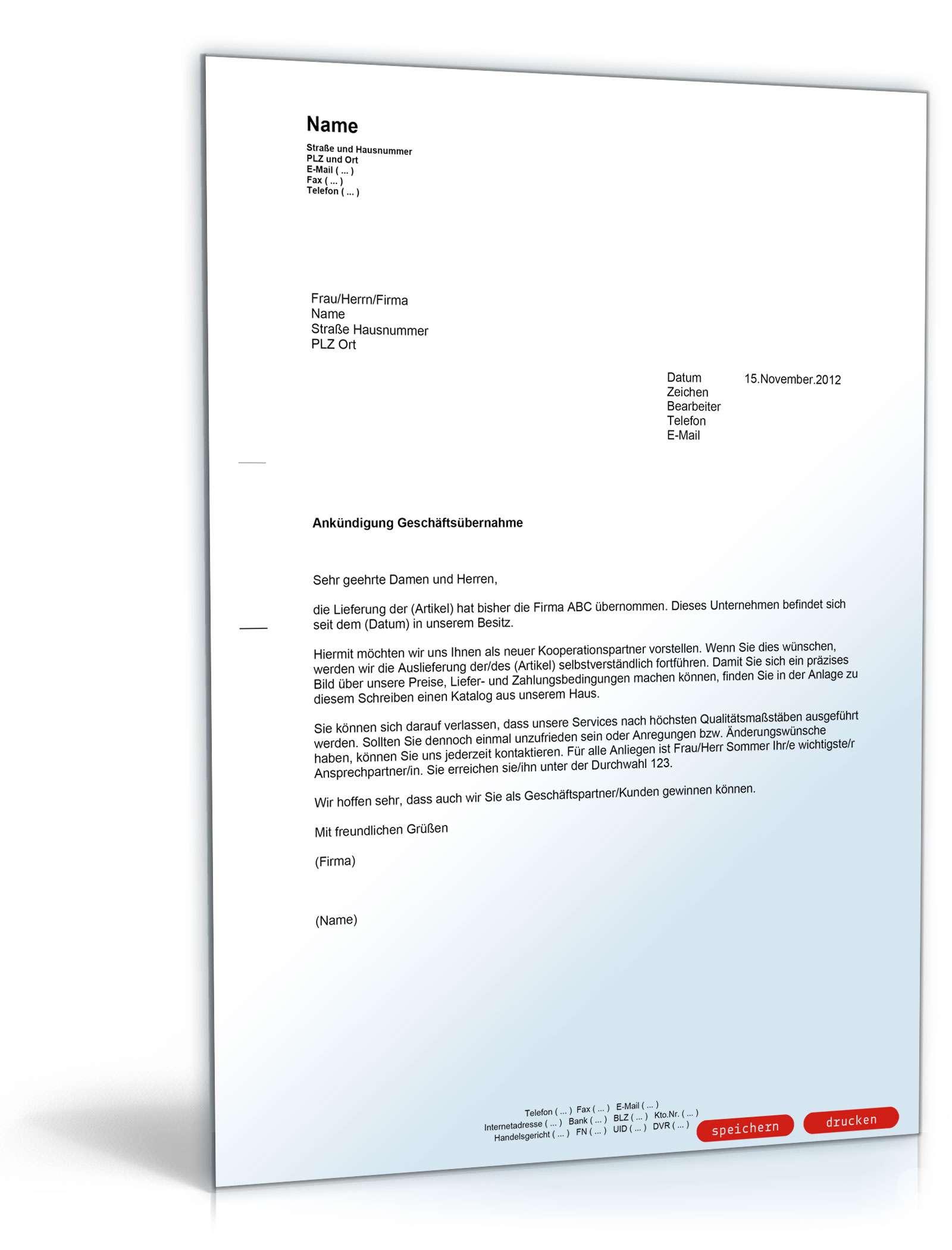 Ankundigung Geschaftsubernahme Muster Vorlage Zum Download