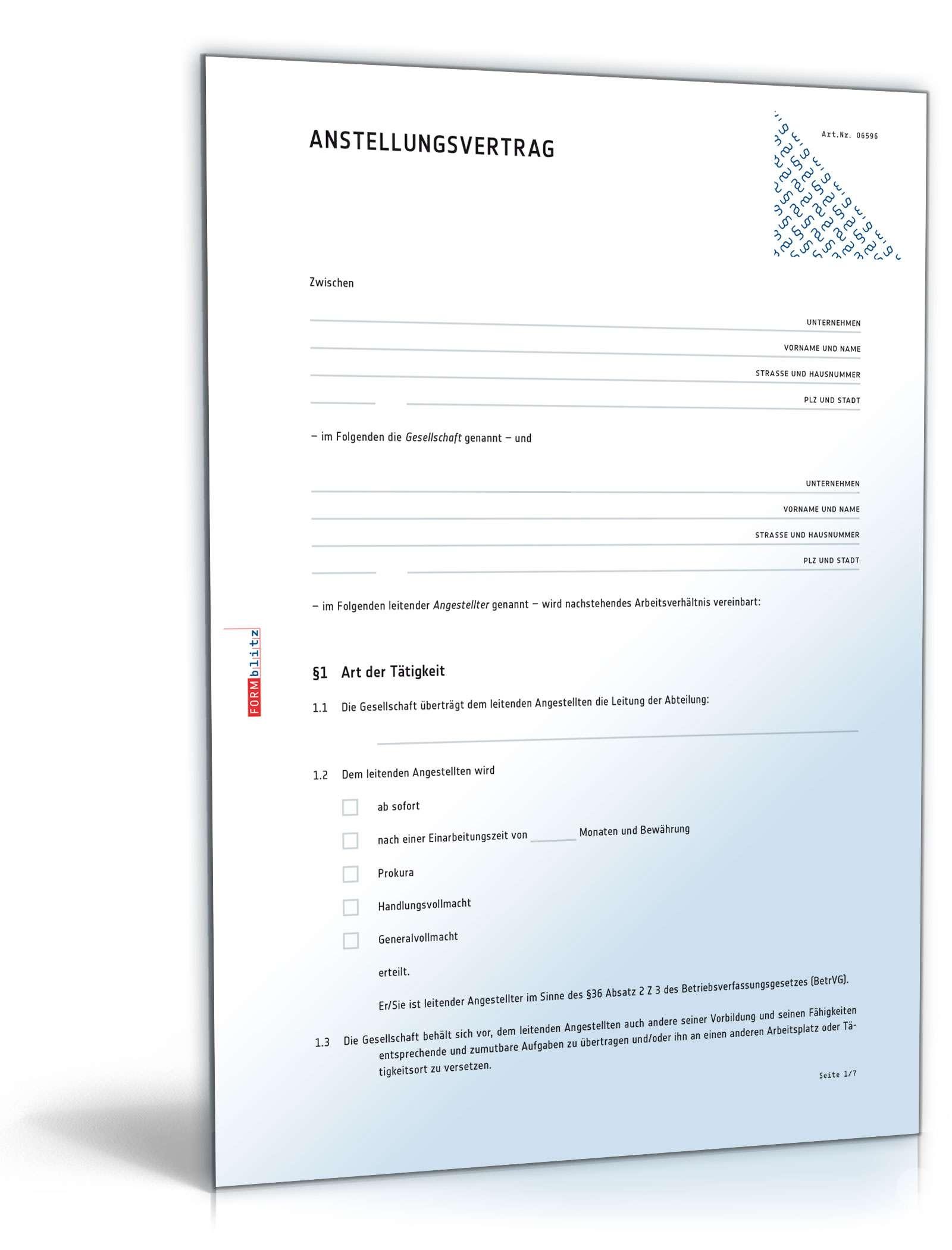 Anstellungsvertrag Für Leitende Angestellte Muster Vorlage Zum