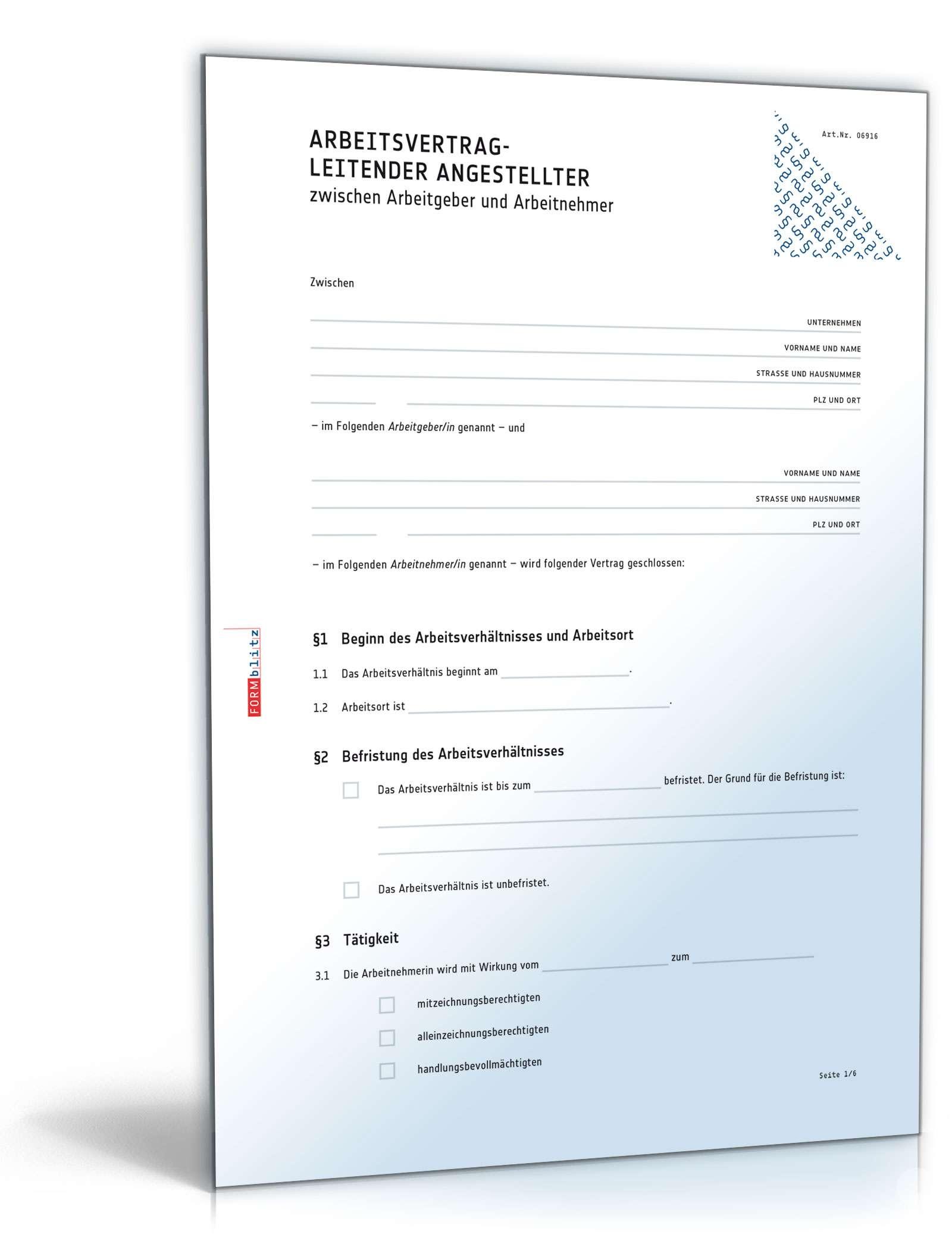 Arbeitsvertrag Leitender Angestellter Muster Vorlage Zum Download