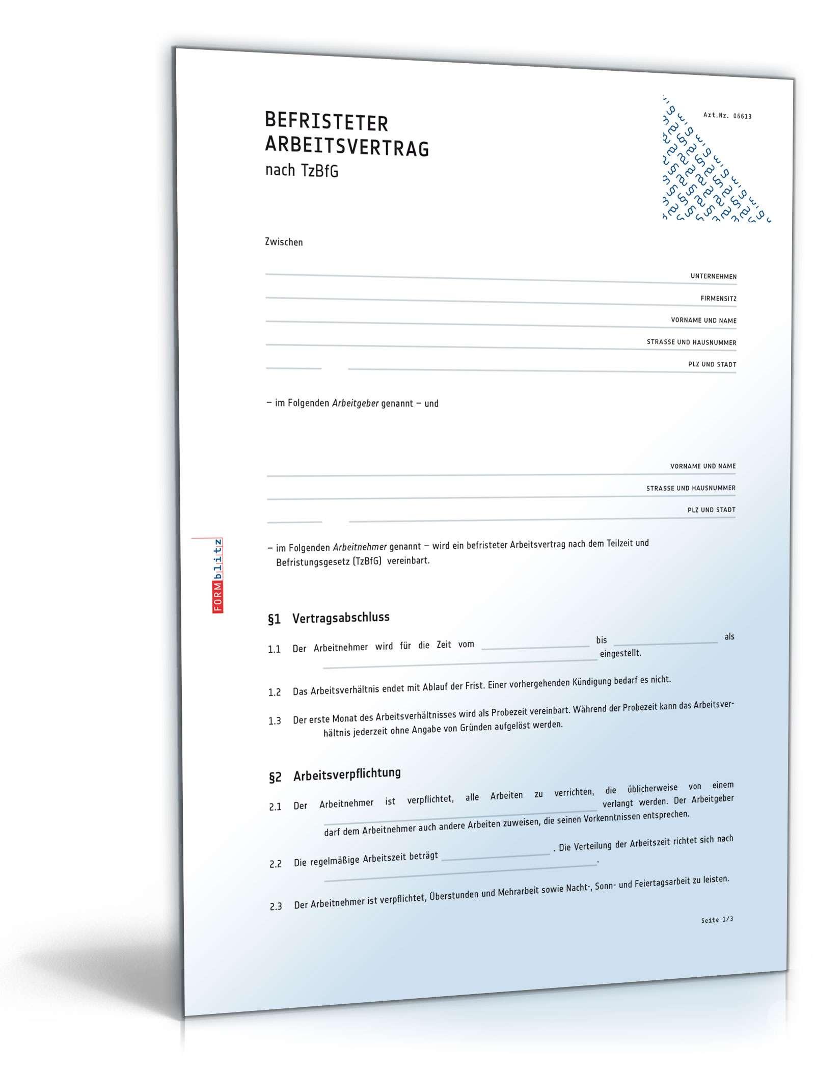 Befristeter Arbeitsvertrag - Muster-Vorlage zum Download