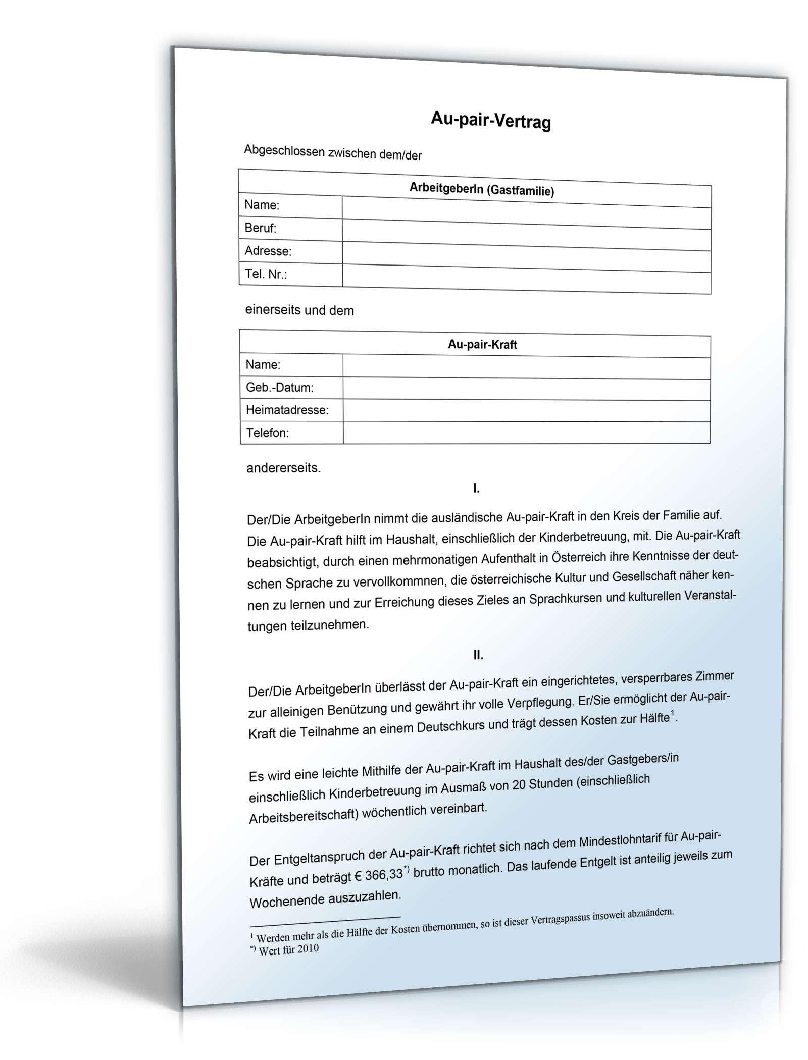 Au Pair Vertrag Muster Vorlage Zum Download