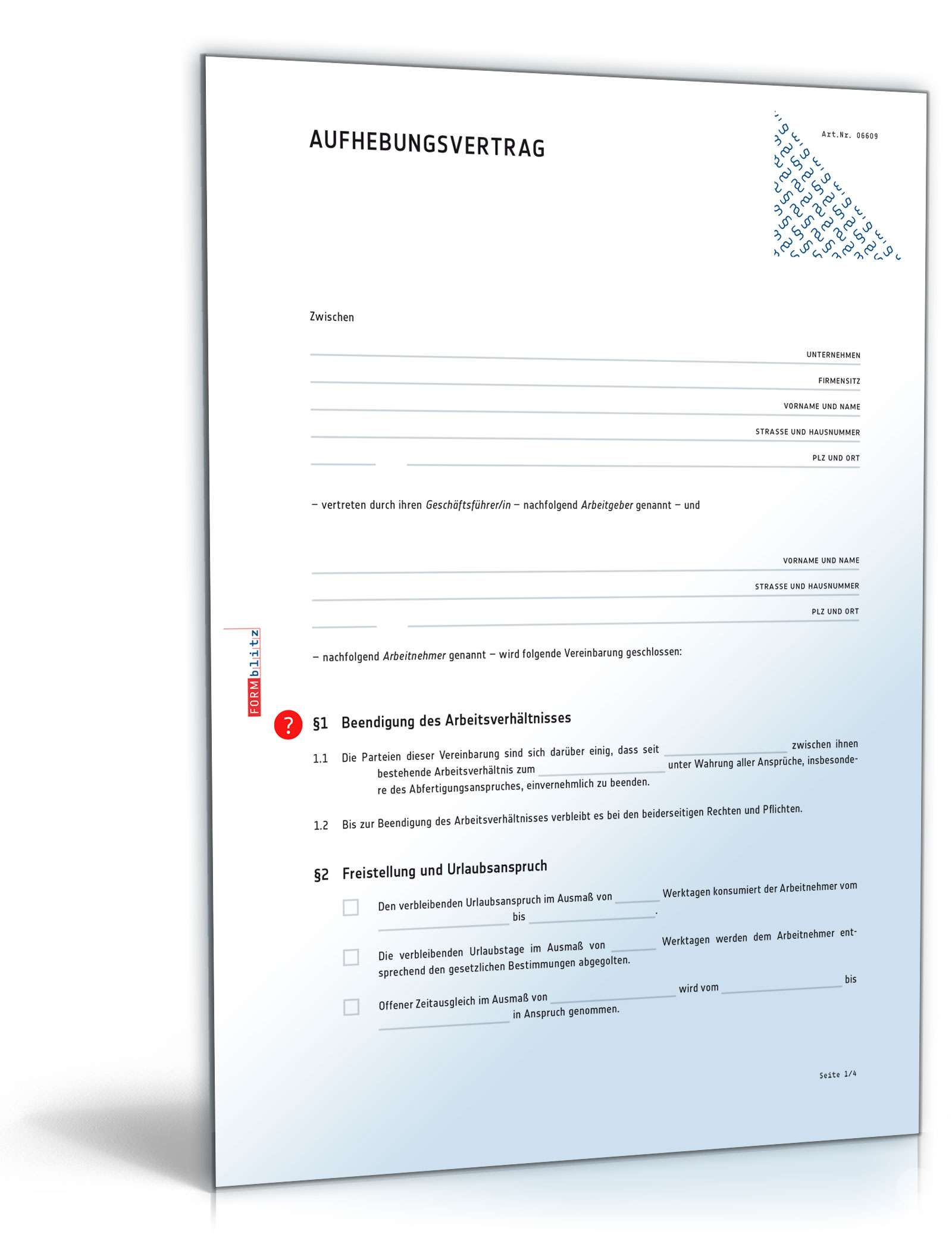 Aufhebungsvertrag Für Ein Arbeitsverhältnis Muster Zum