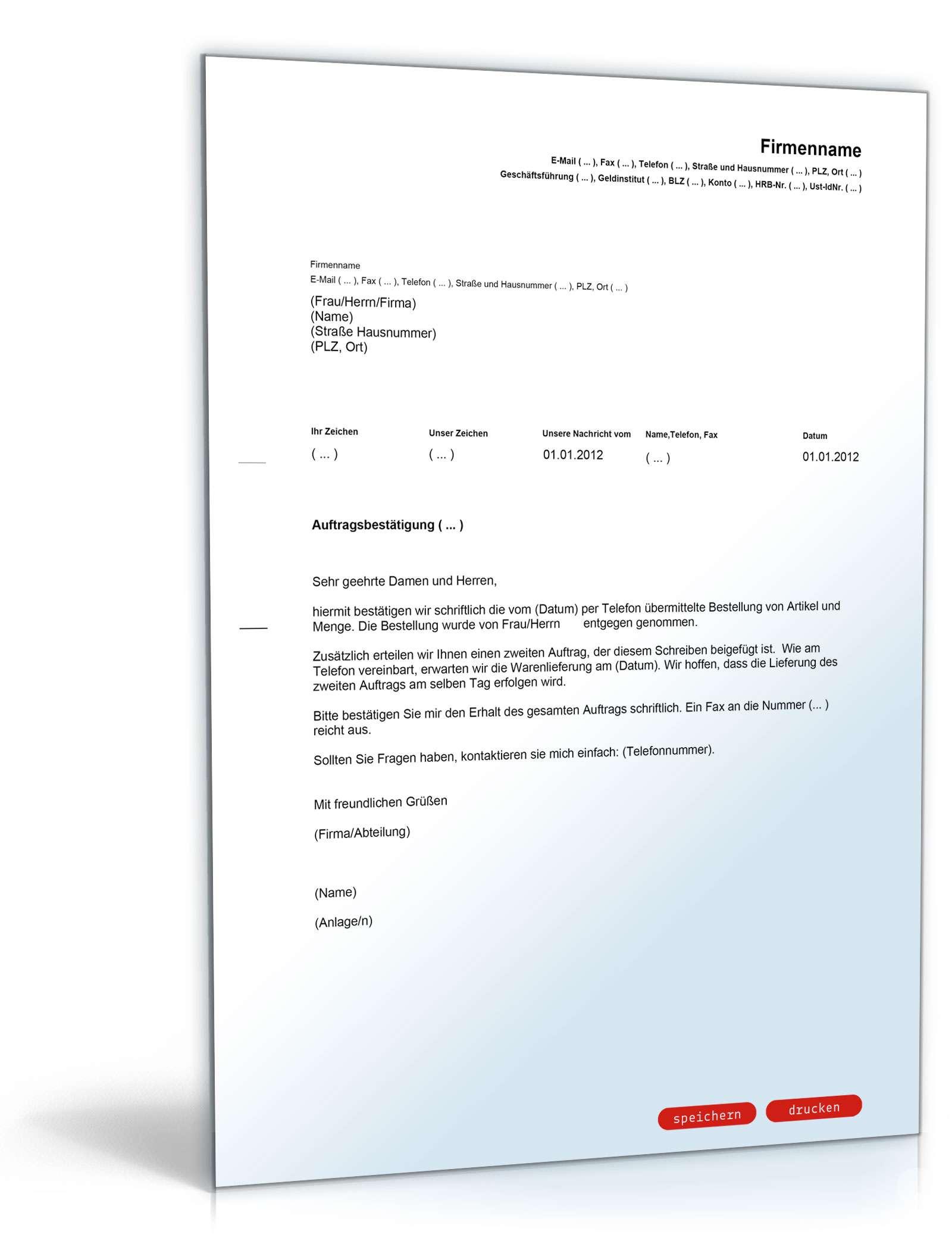 auftragsbesttigung muster brief zum download - Auftragsbestatigung Beispiel