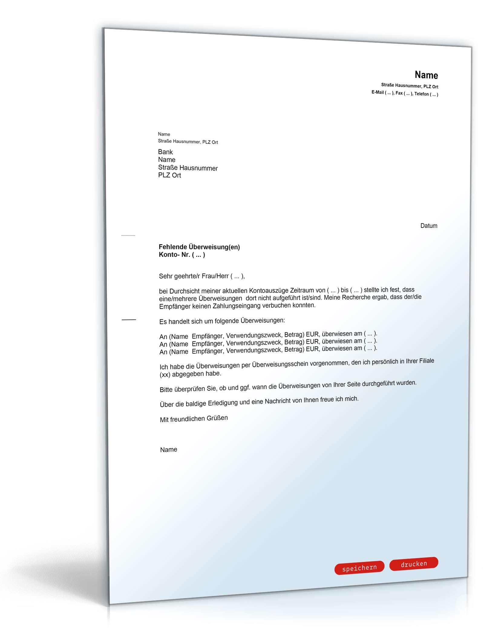 Brief An Bank Fehlende überweisung Muster Vorlage Zum Download