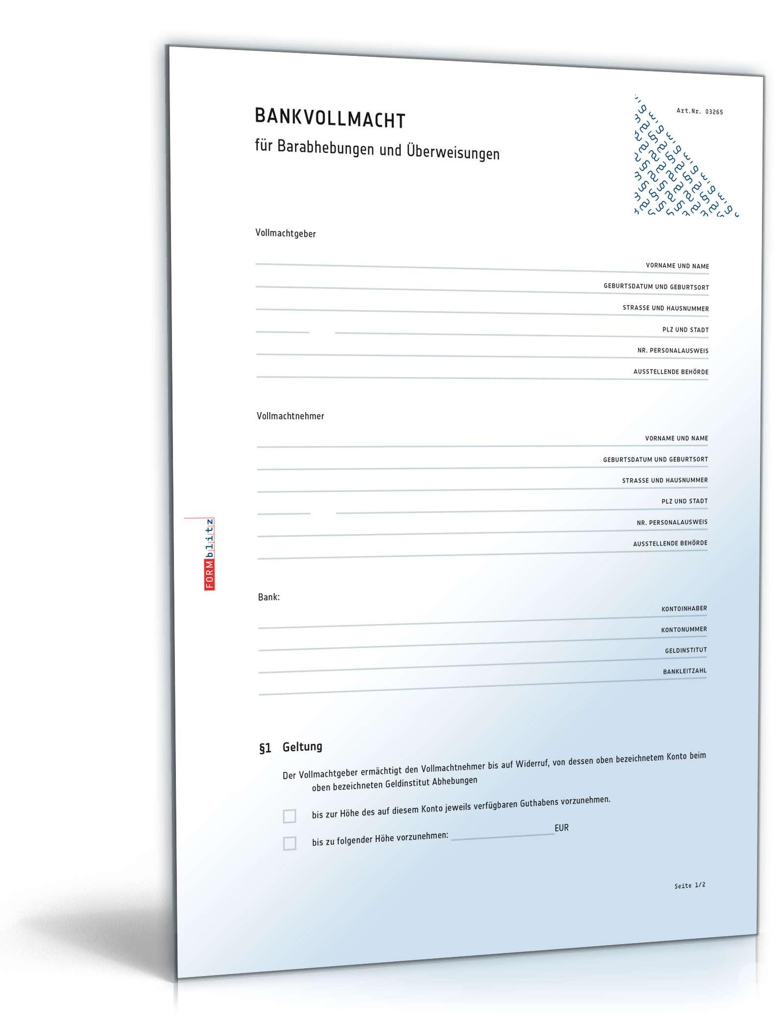 Bankvollmacht Muster Als Kostenlose Vorlage Zum Download