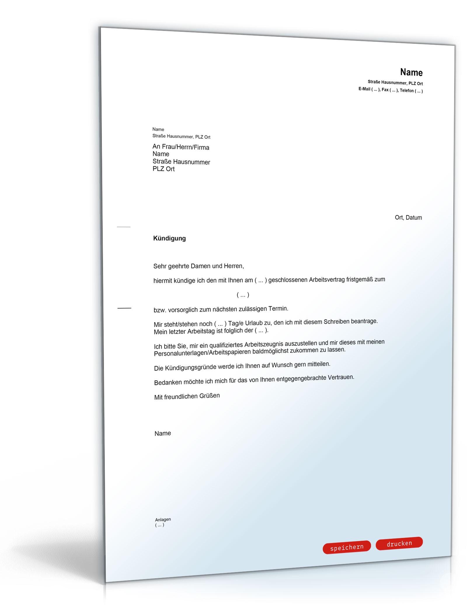 Kündigung Dienstvertrag (fristgemäß, Dienstnehmer) - Muster-Vorlage ...