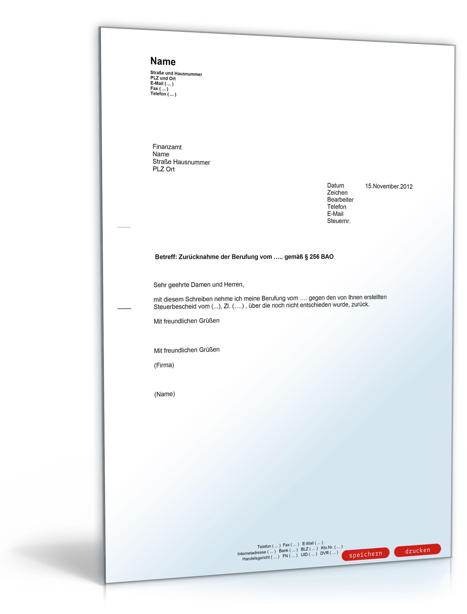 Zurücknahme der Beschwerde gegen Steuerbescheid - Muster-Vorlage zum ...