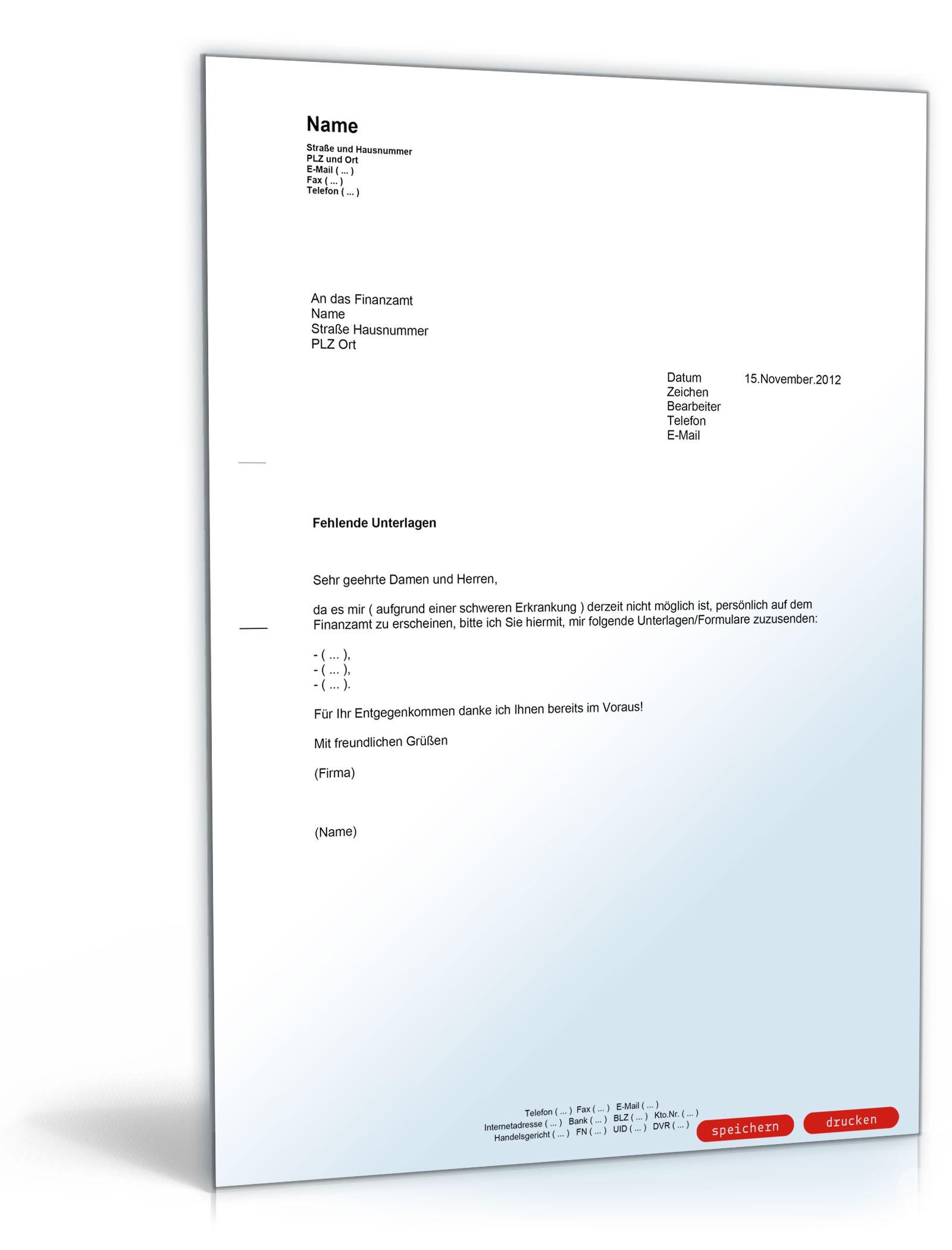 Zusendung von Unterlagen vom Finanzamt - Muster-Vorlage zum Download