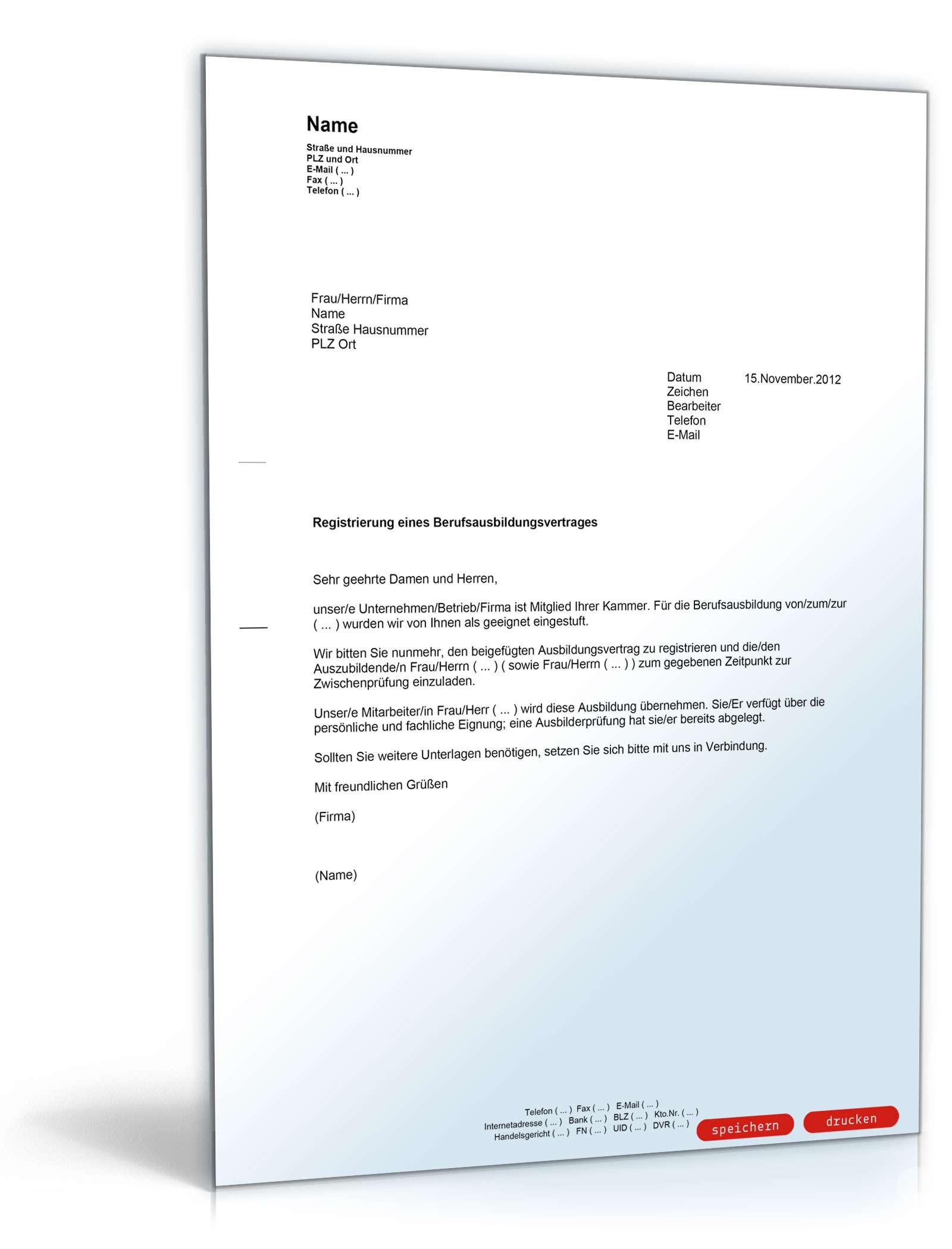 Anmeldung Berufsausbildungsvertrag - Muster-Vorlage zum Download