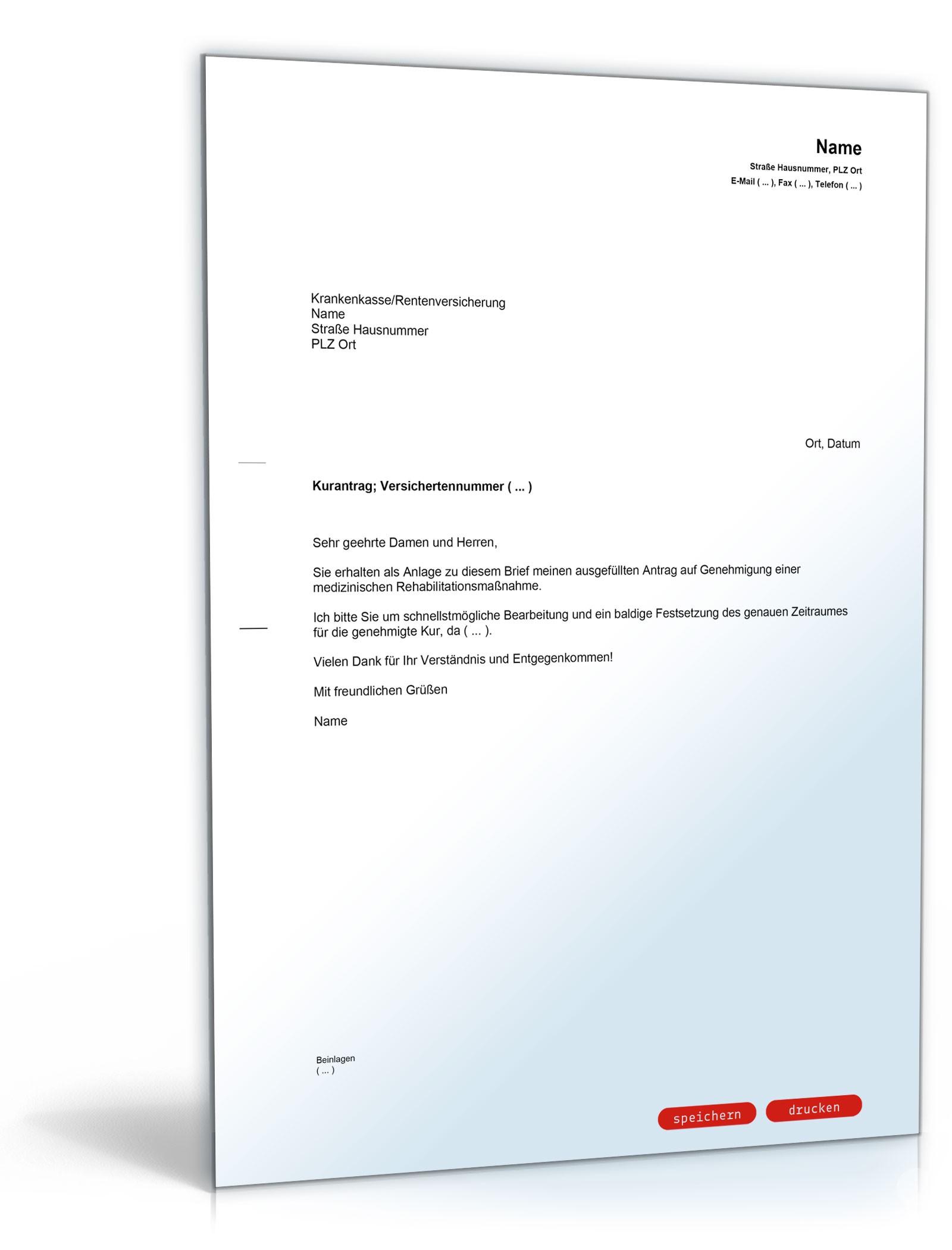 begleitschreiben kurantrag bei krankenversicherung muster vorlage zum download - Stundungsantrag Muster