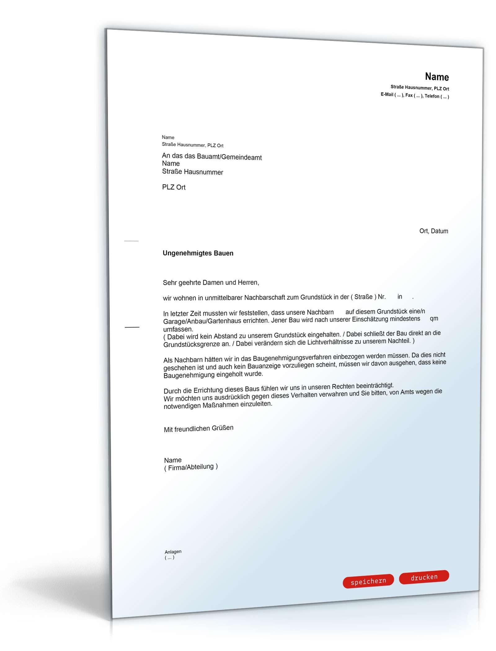 Anzeige (ungenehmigtes Bauen) - Muster-Vorlage zum Download
