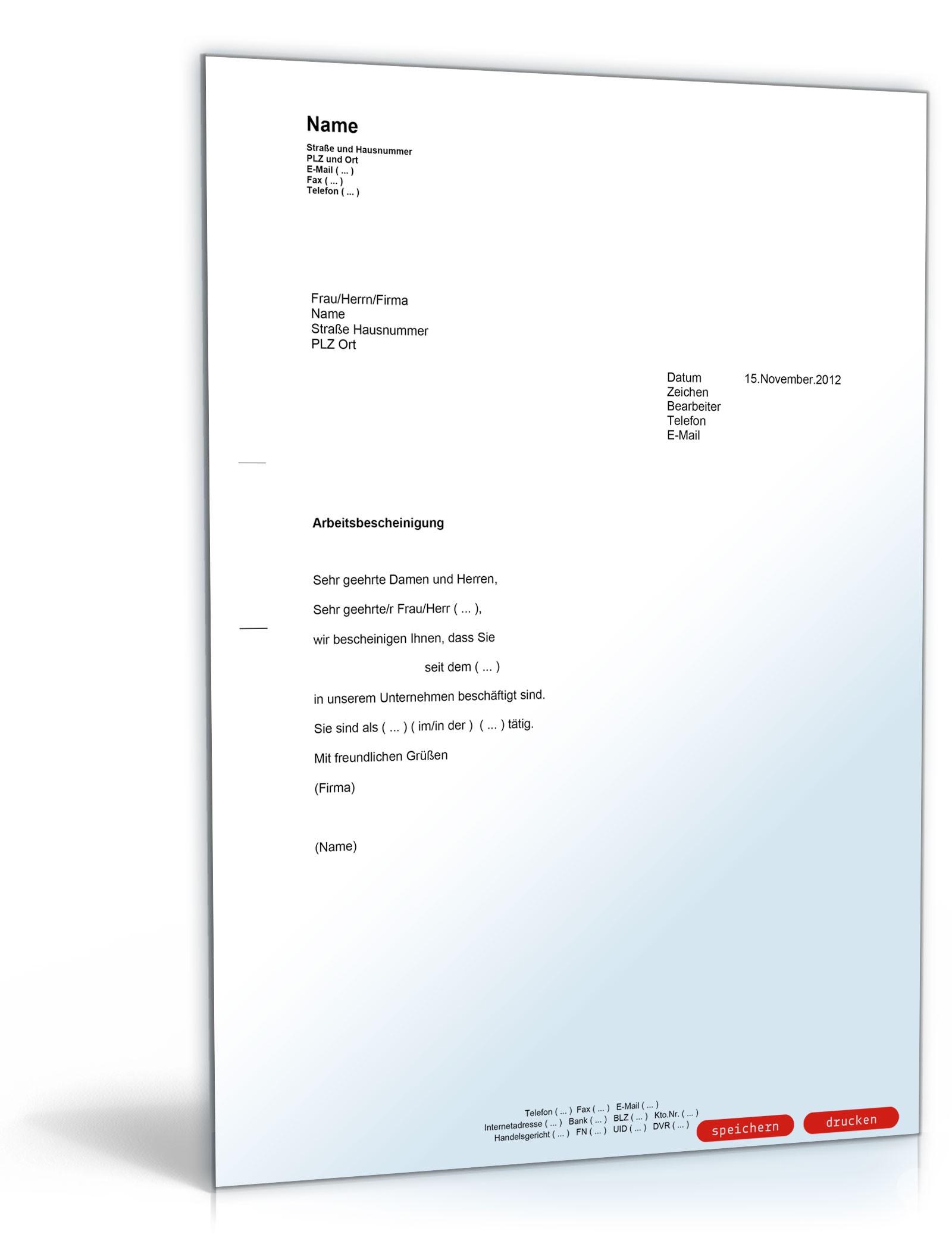 Arbeitsbescheinigung - Muster-Vorlage zum Download