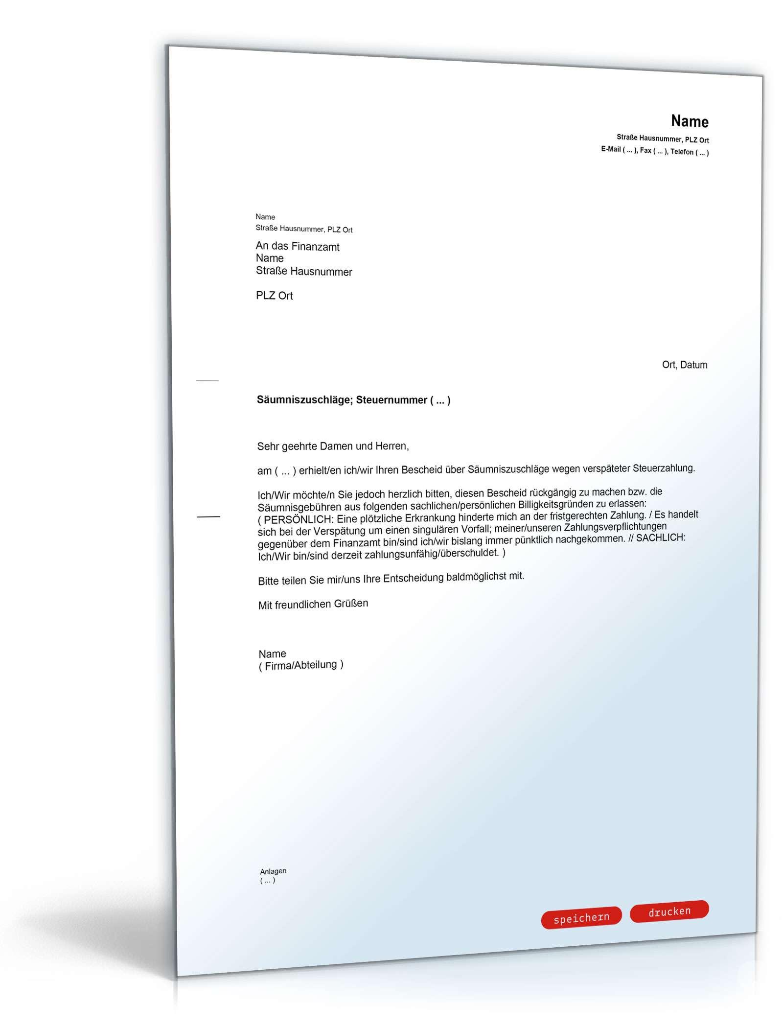 Einspruch gegen Säumniszuschlag - Muster-Vorlage zum Download