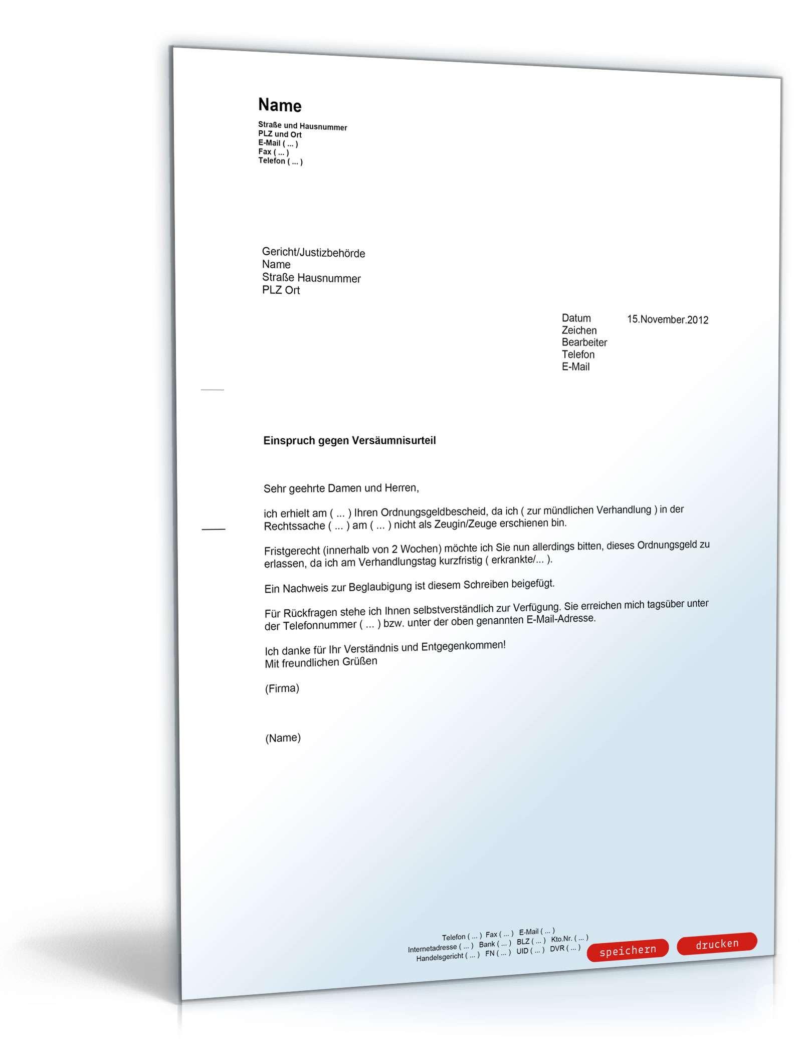 einspruch gegen ein deutsches ordnungsgeld - Einspruch Gegen Versaumnisurteil Muster