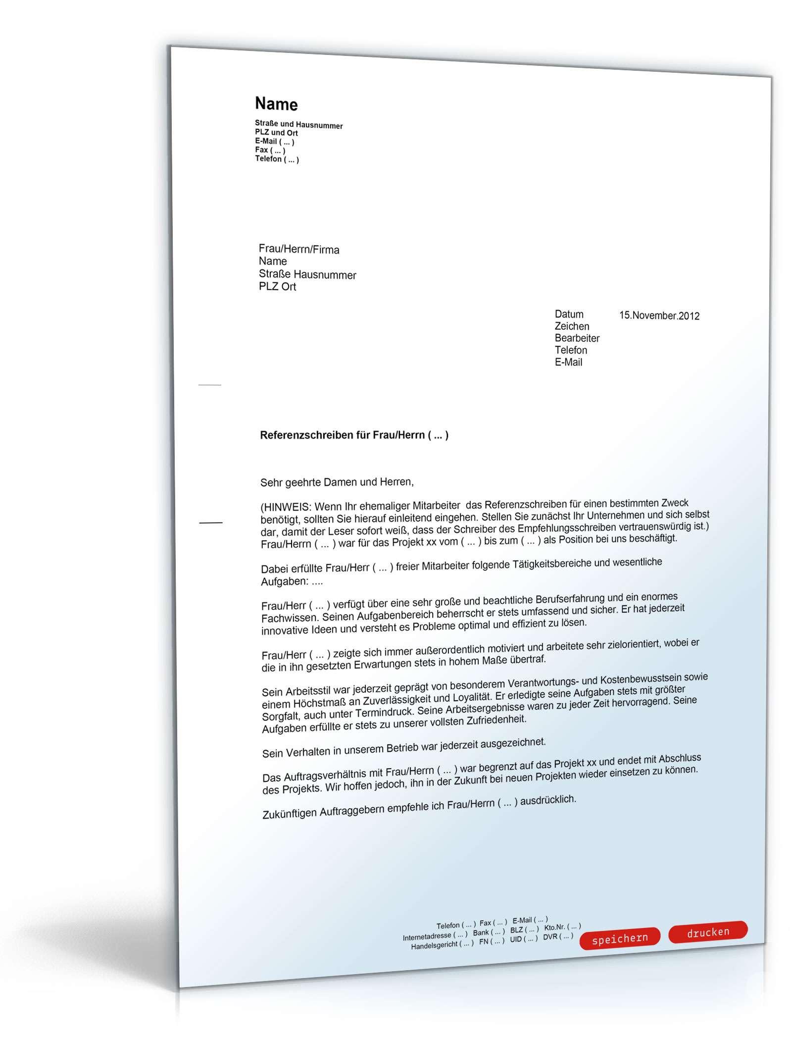 Referenzschreiben für Mitarbeiter - Musterbrief zum Download